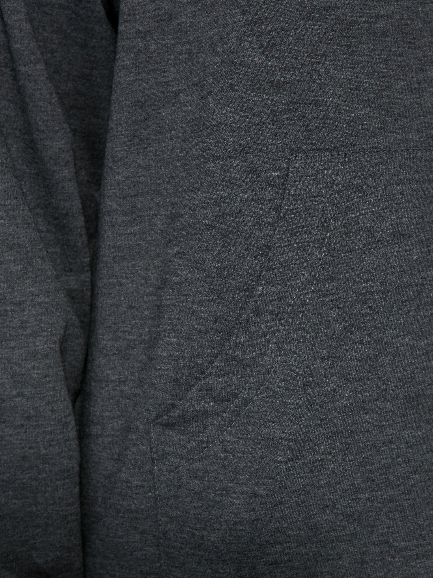 Szara dresowa bluzosukienka z kapturem i kieszenią typu kangur                                  zdj.                                  8