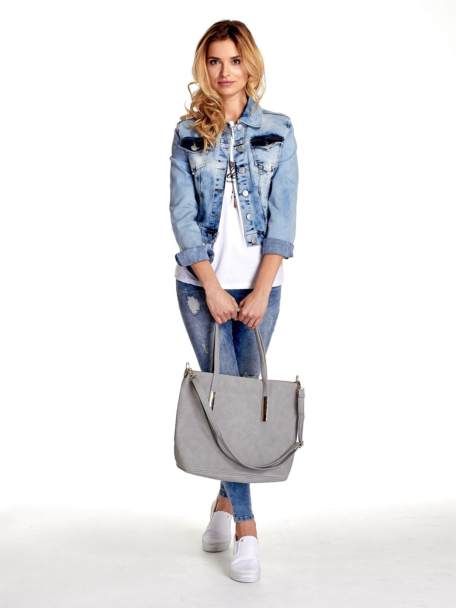 Szara fakturowana torba shopper bag                                  zdj.                                  2