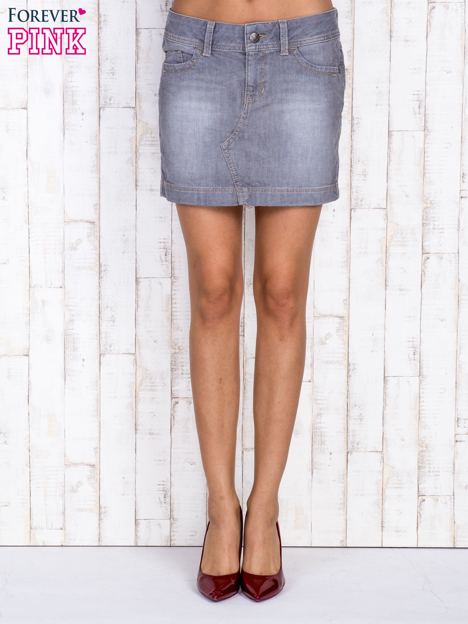 Szara jeansowa spódnica mini                                  zdj.                                  2