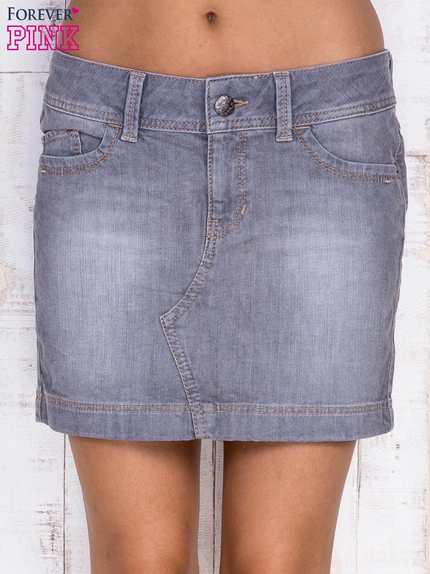Szara jeansowa spódnica mini                                  zdj.                                  1