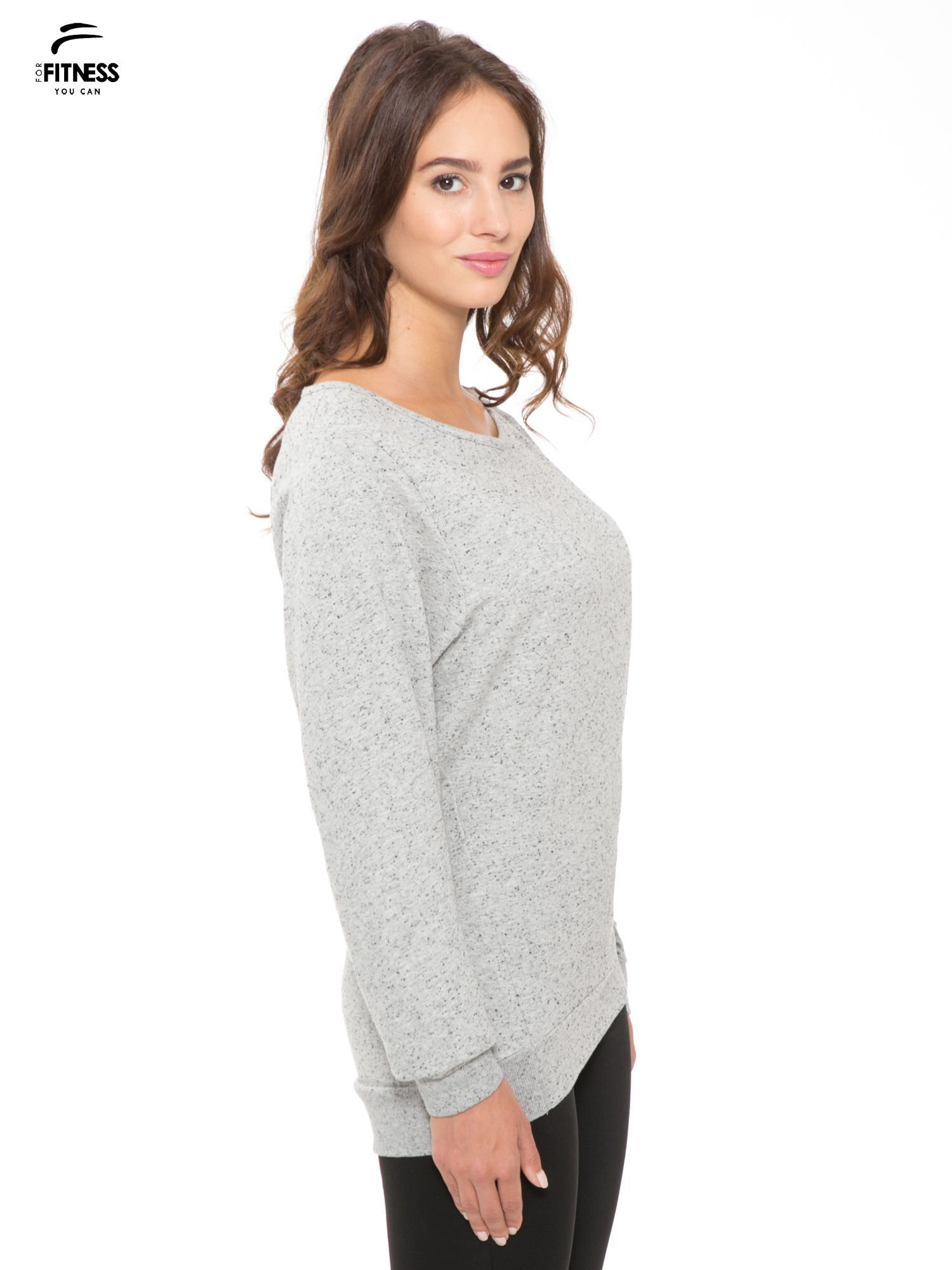 Szara melanżowa bluza dresowa z nietoperzowymi rękawami                                  zdj.                                  3