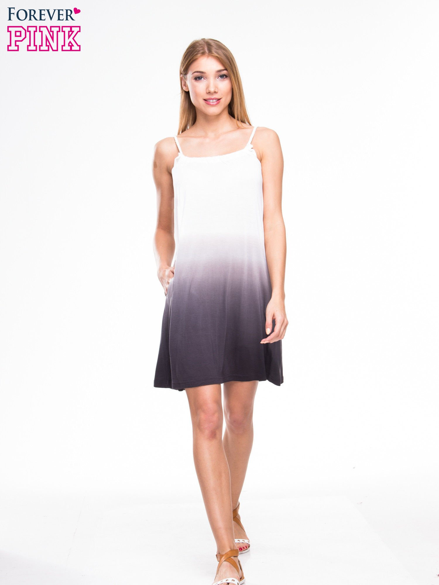 Szara sukienka na ramiączka z efektem ombre                                  zdj.                                  4