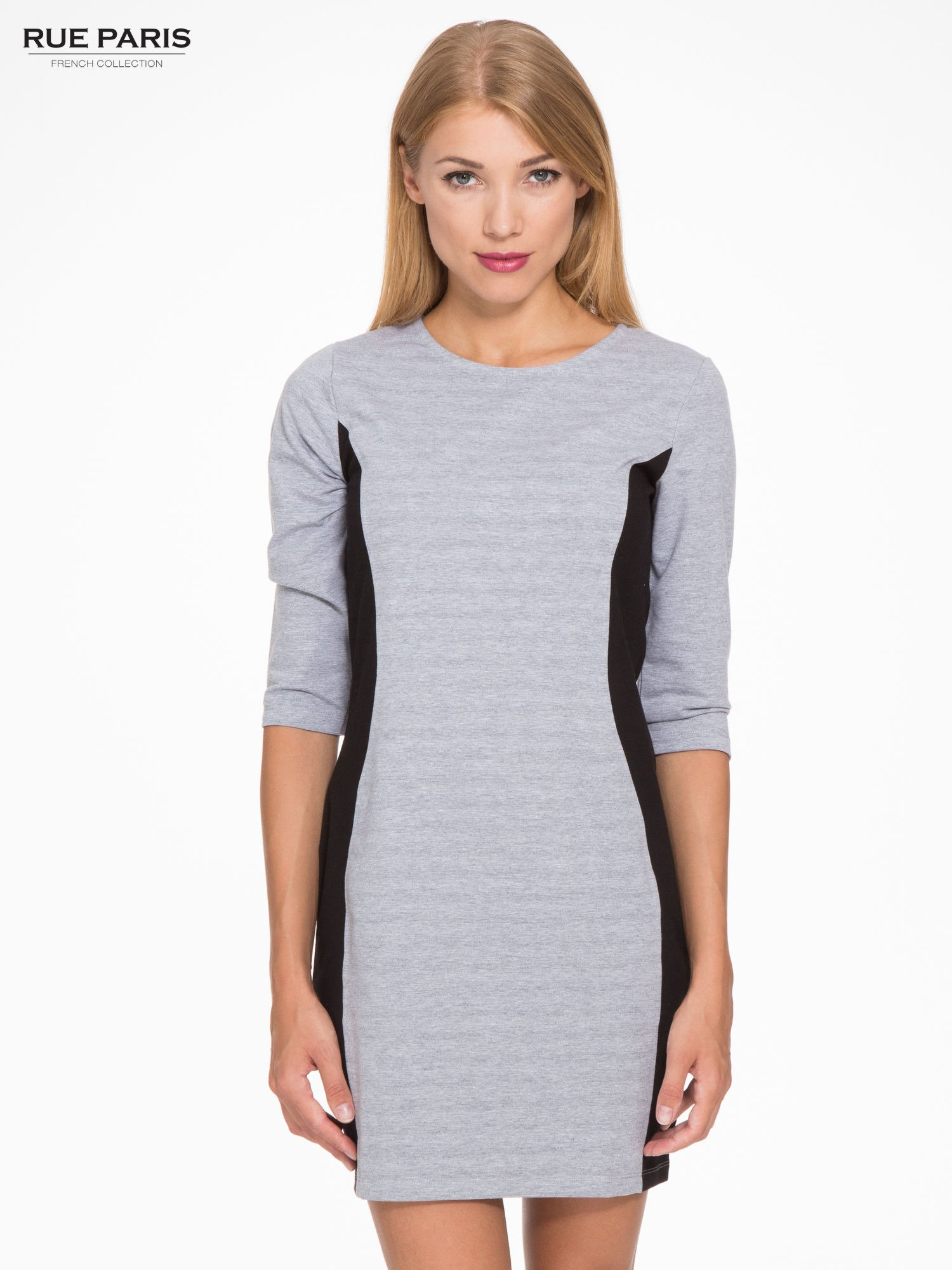 Szara sukienka z czarnymi modułami po bokach                                  zdj.                                  1