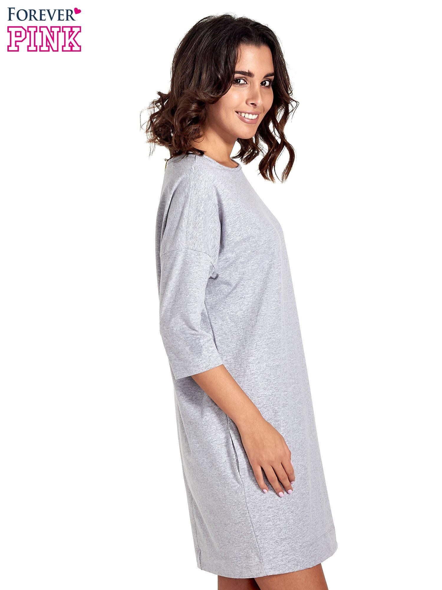 Szara sukienka z rękawem za łokieć                                  zdj.                                  3