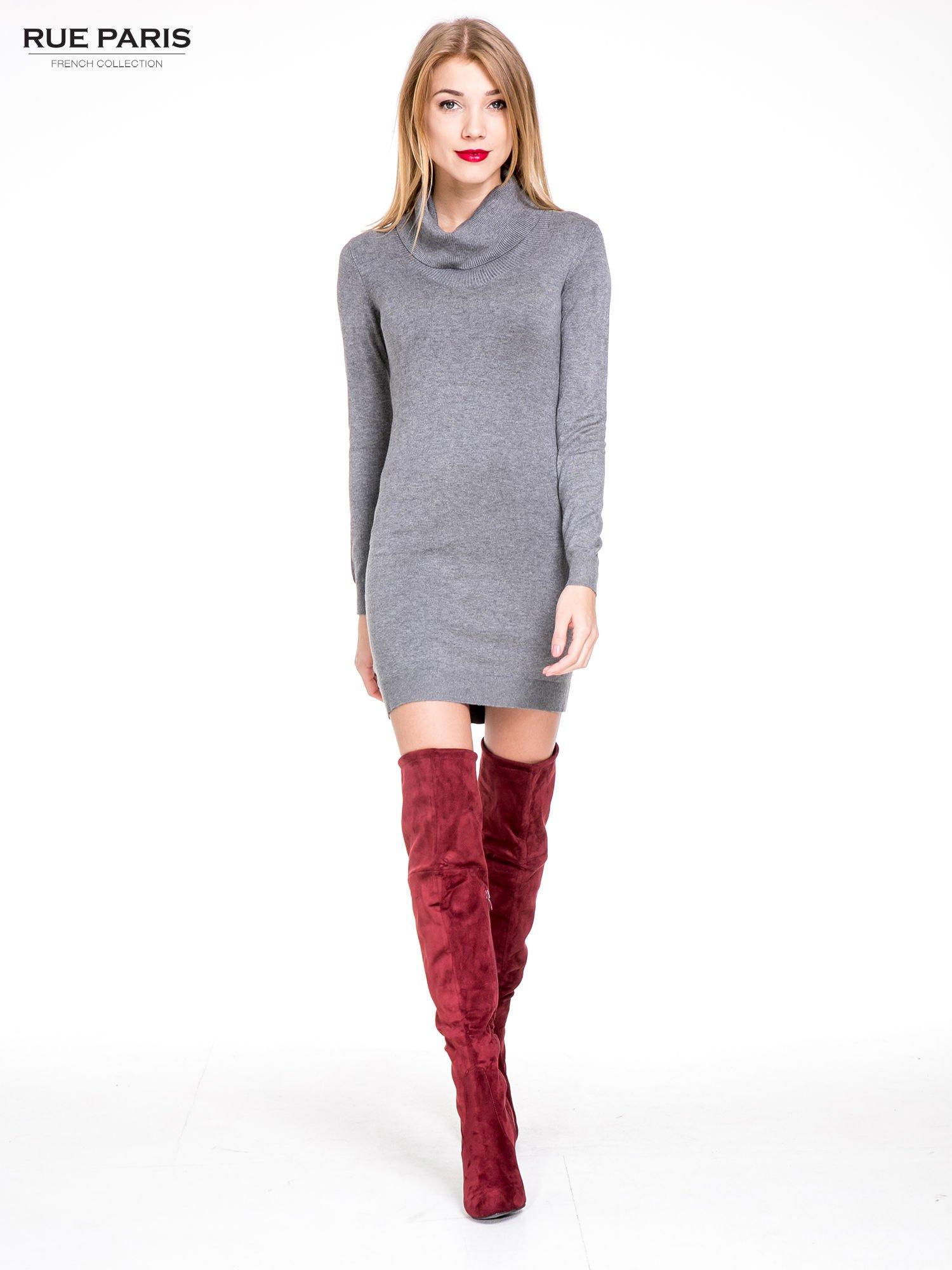 95cf143dda Szara swetrowa sukienka z golfem - Sukienka na co dzień - sklep ...