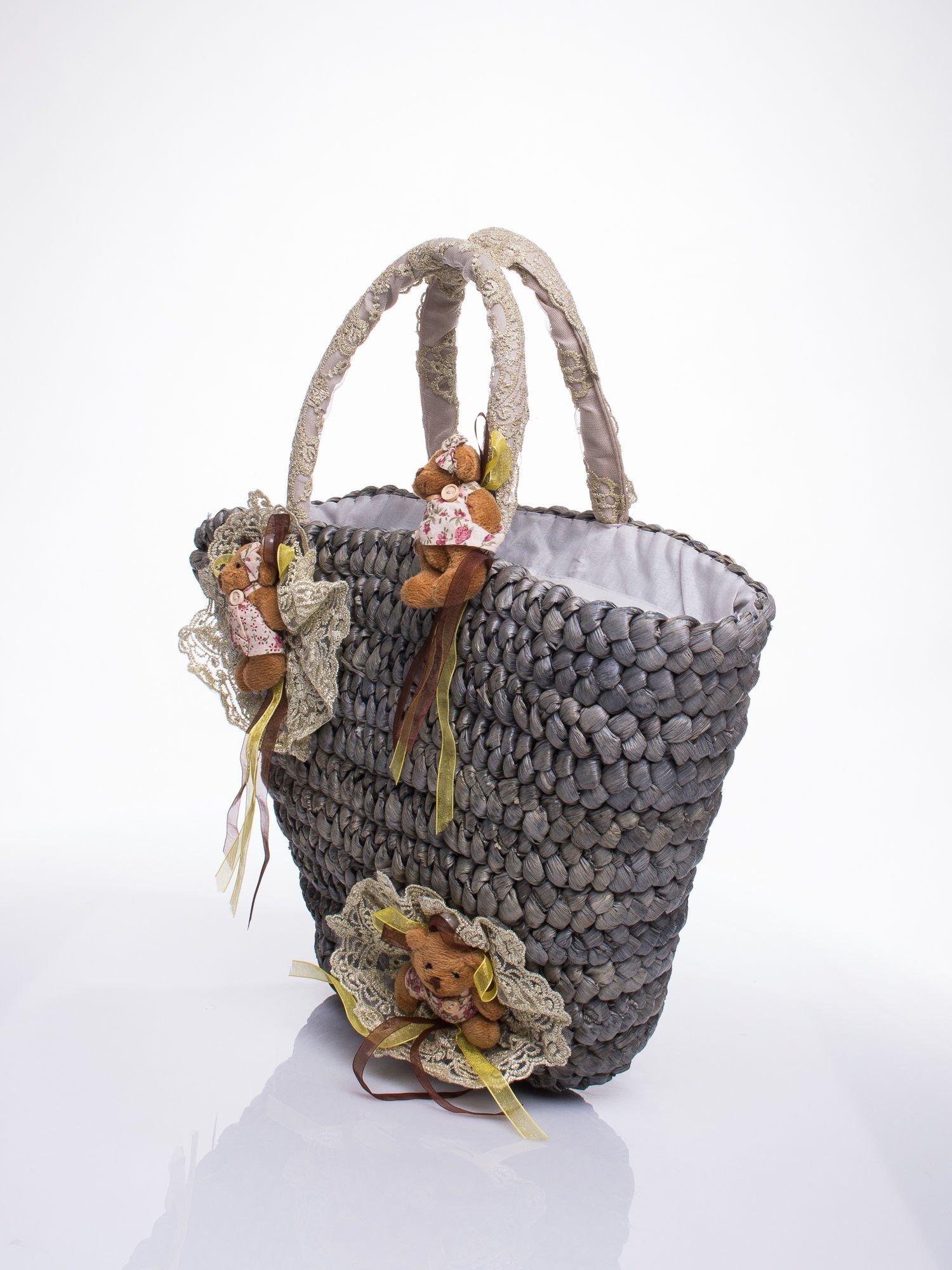 Szara  torba koszyk plażowy z kwiatami                                  zdj.                                  3