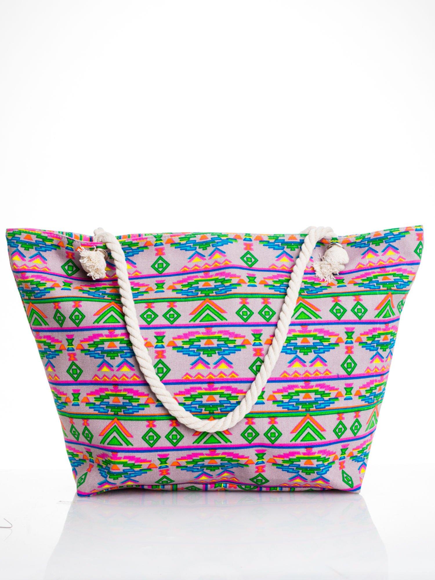 Szara torba plażowa w azteckie wzory                                  zdj.                                  1