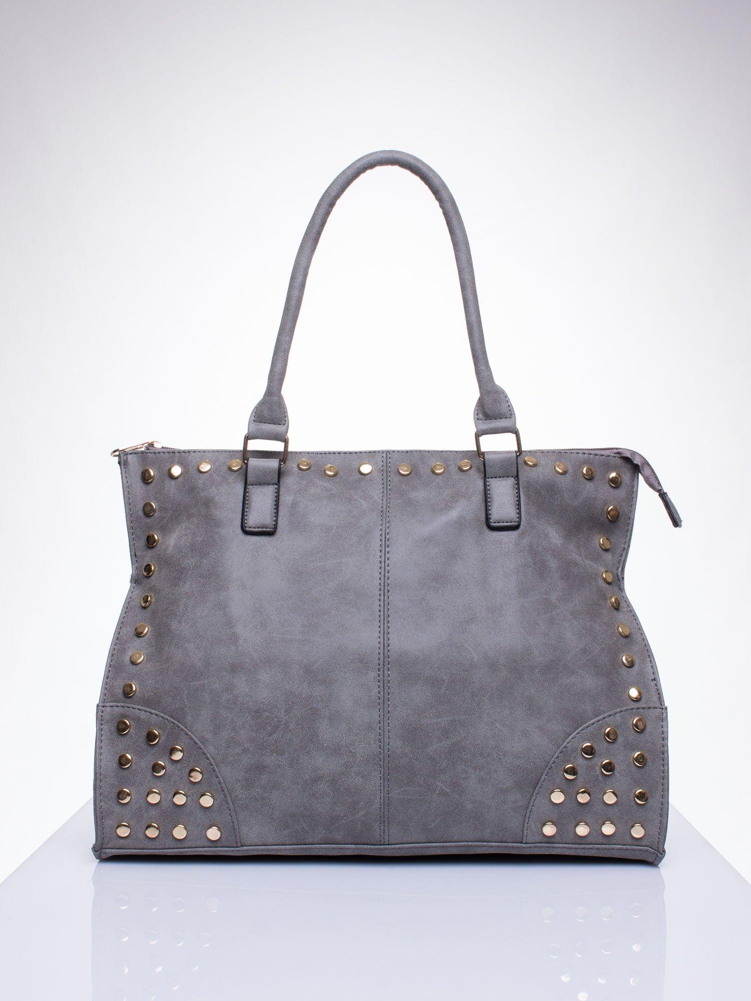 Szara torba shopper bag ze złotymi ćwiekami                                  zdj.                                  1