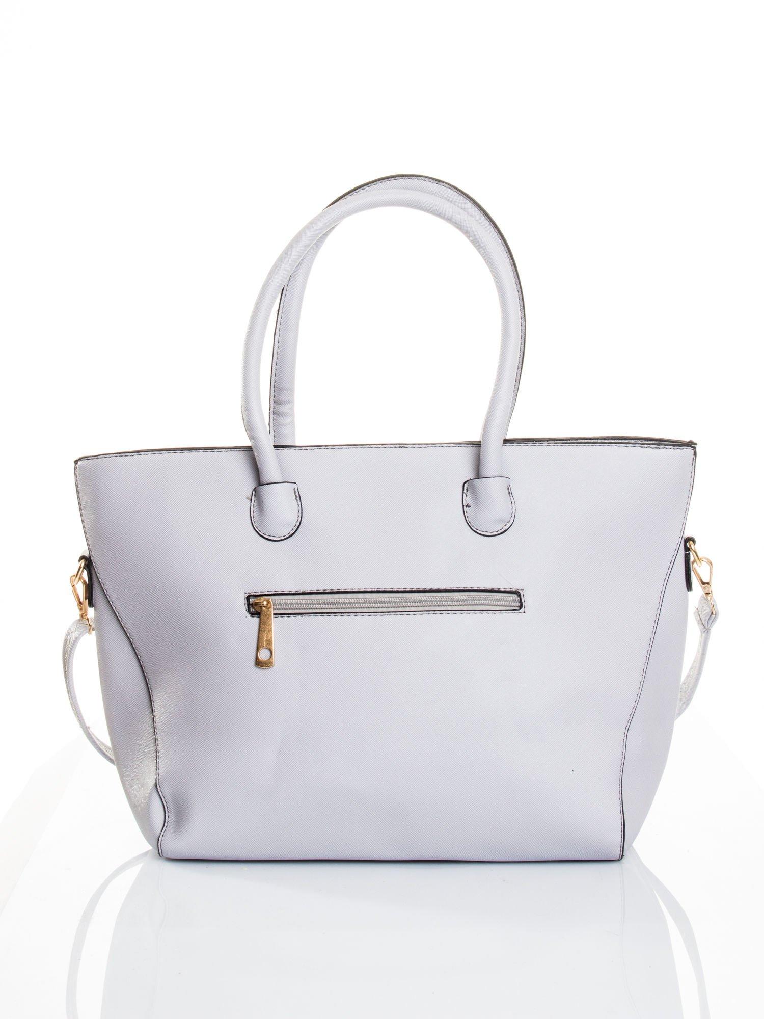 Szara torba shopper efekt saffiano                                  zdj.                                  2