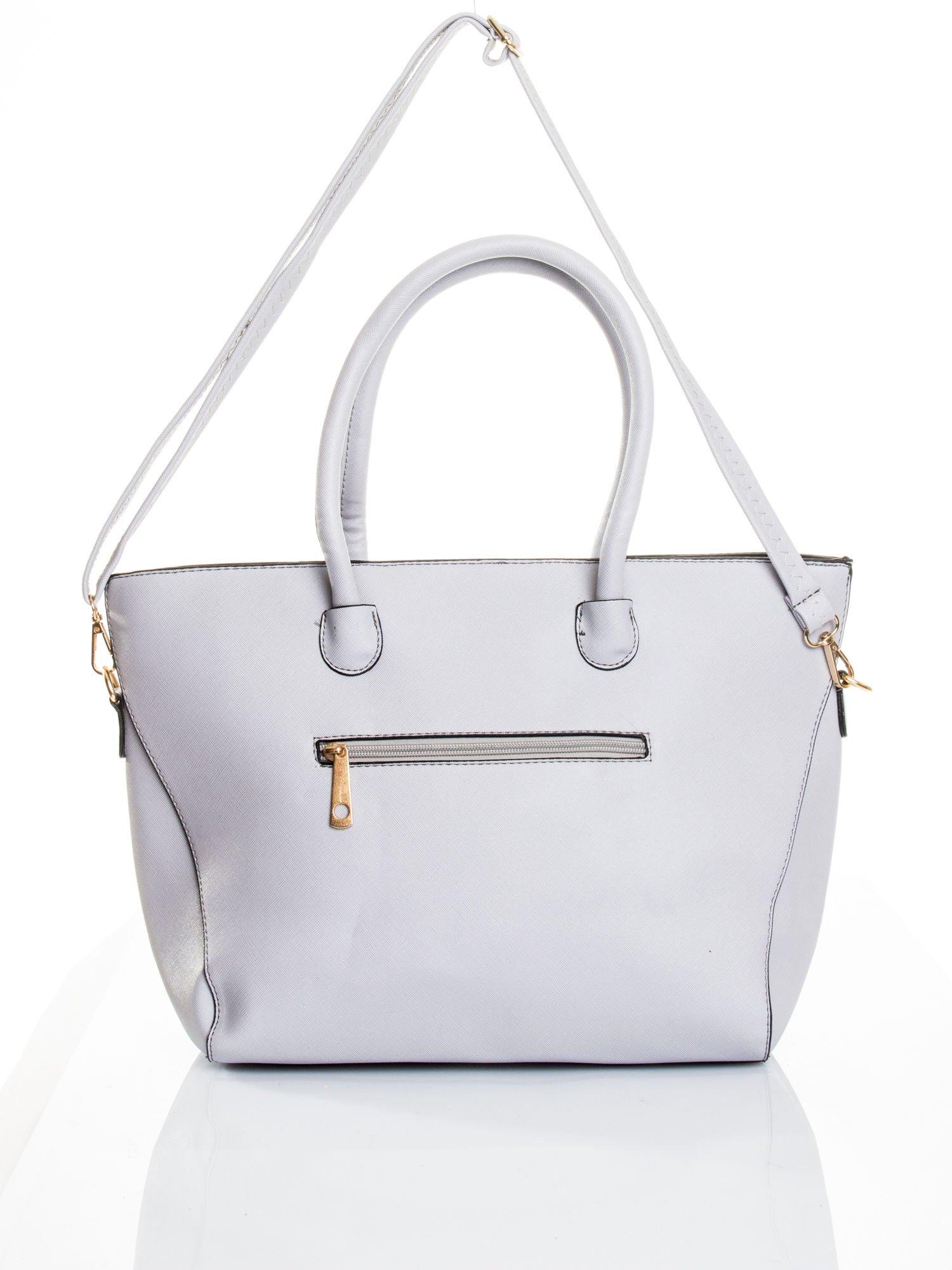 Szara torba shopper efekt saffiano                                  zdj.                                  5