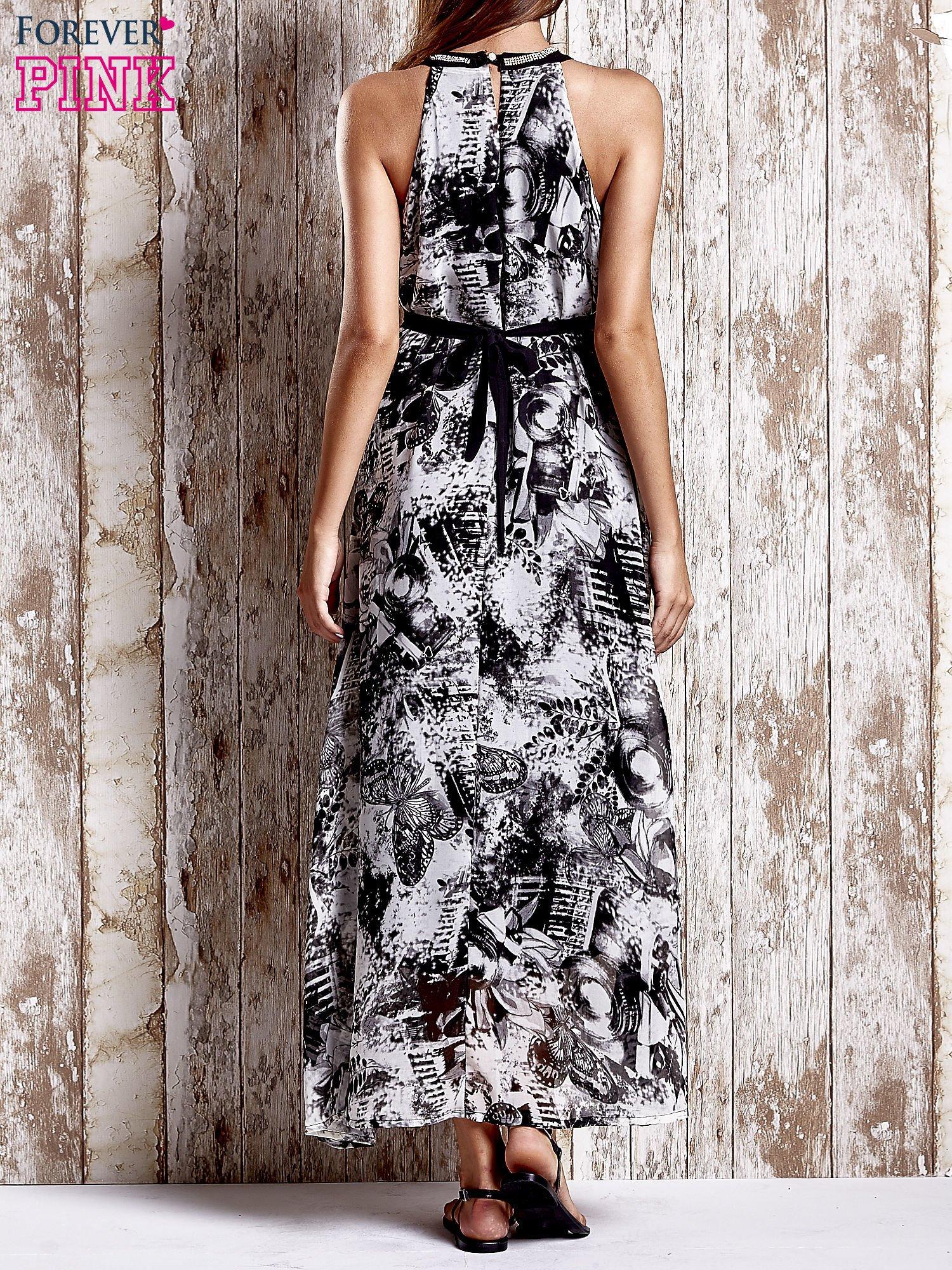 Szara wzorzysta sukienka maxi z dżetami                                   zdj.                                  2