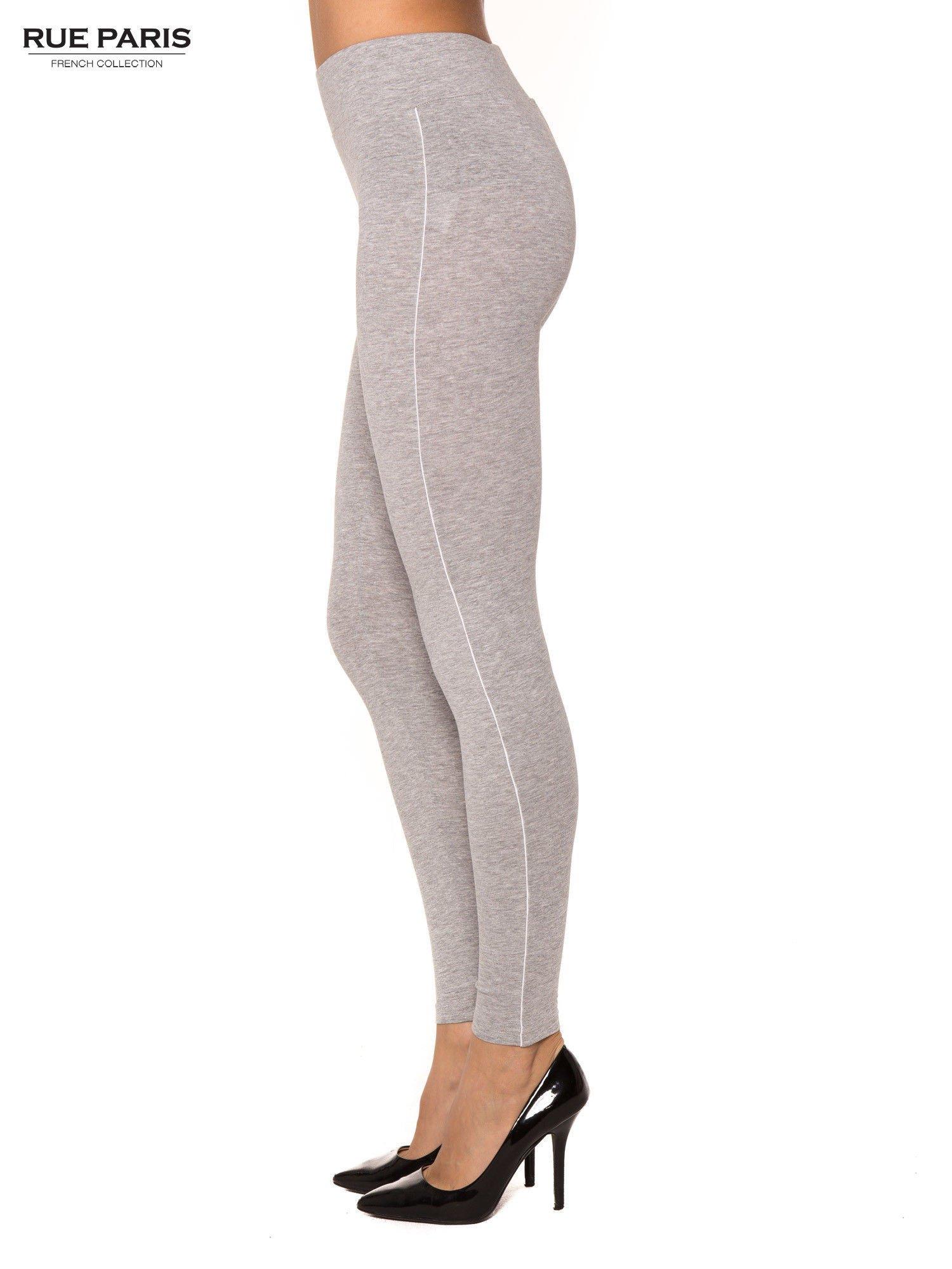 Szare bawełniane legginsy z kontrastowym pasem wzdłuż nogawki                                  zdj.                                  2