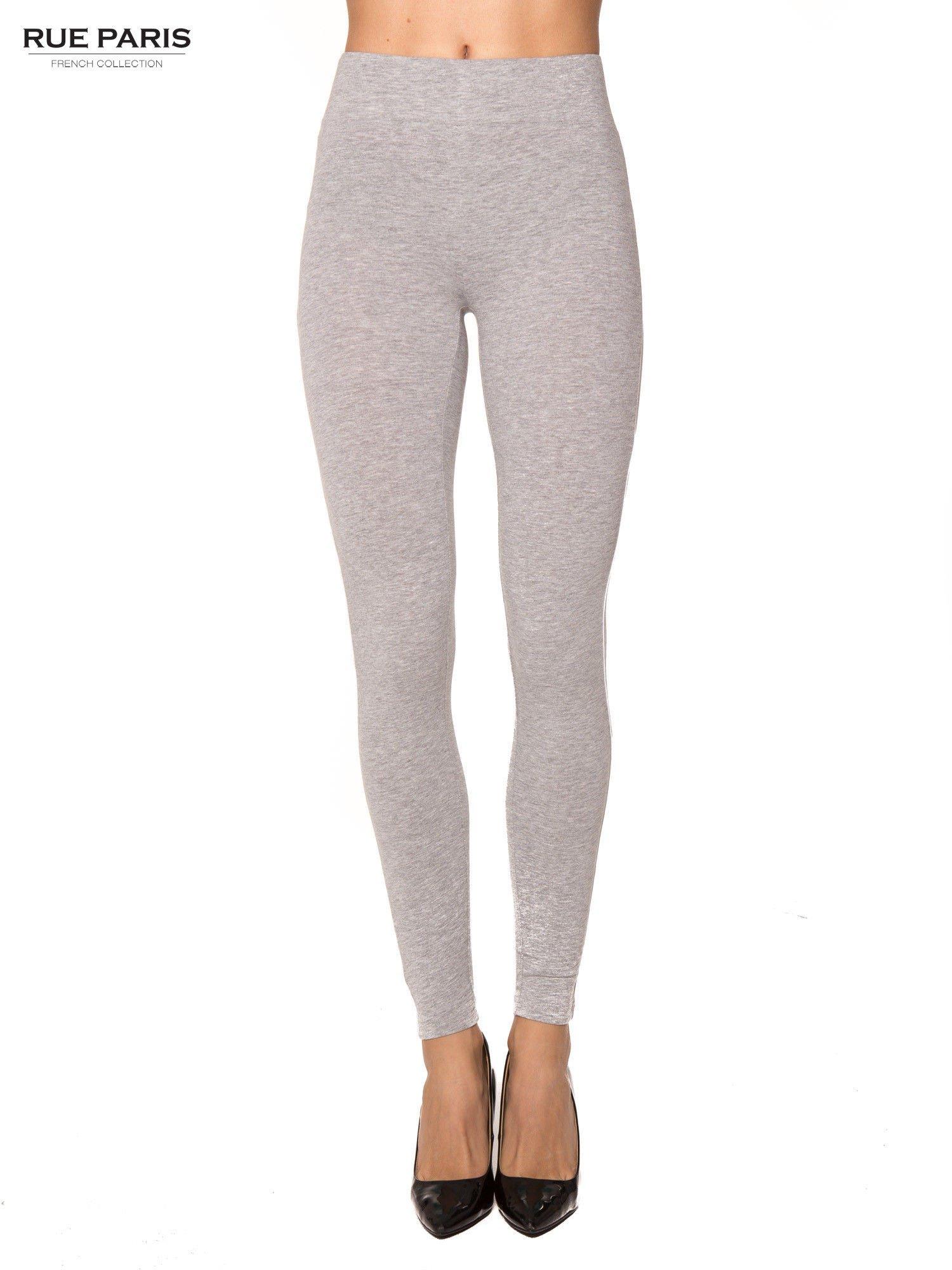 Szare bawełniane legginsy z kontrastowym pasem wzdłuż nogawki                                  zdj.                                  1