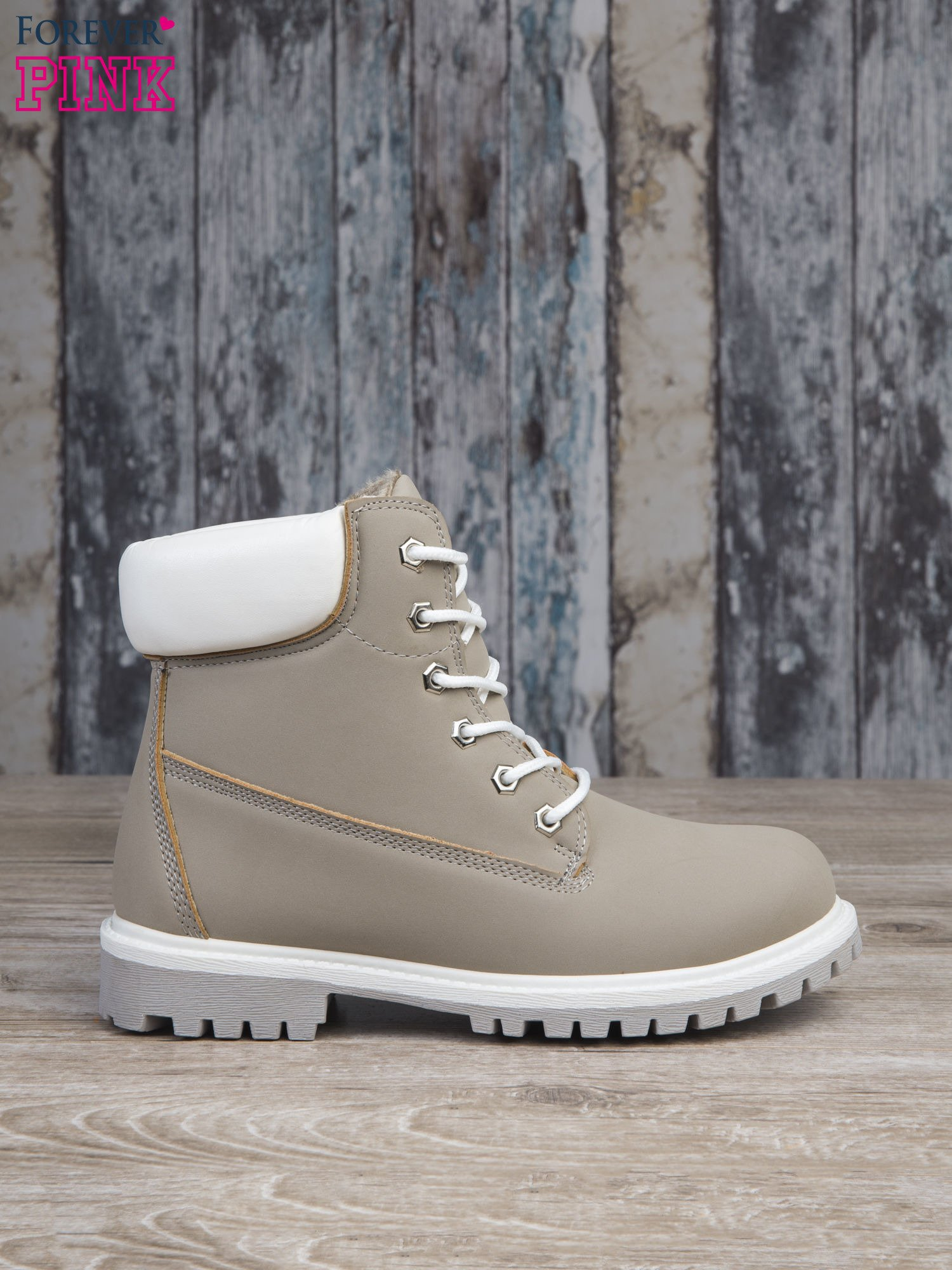 Szare buty trekkingowe damskie traperki ocieplane                                  zdj.                                  1