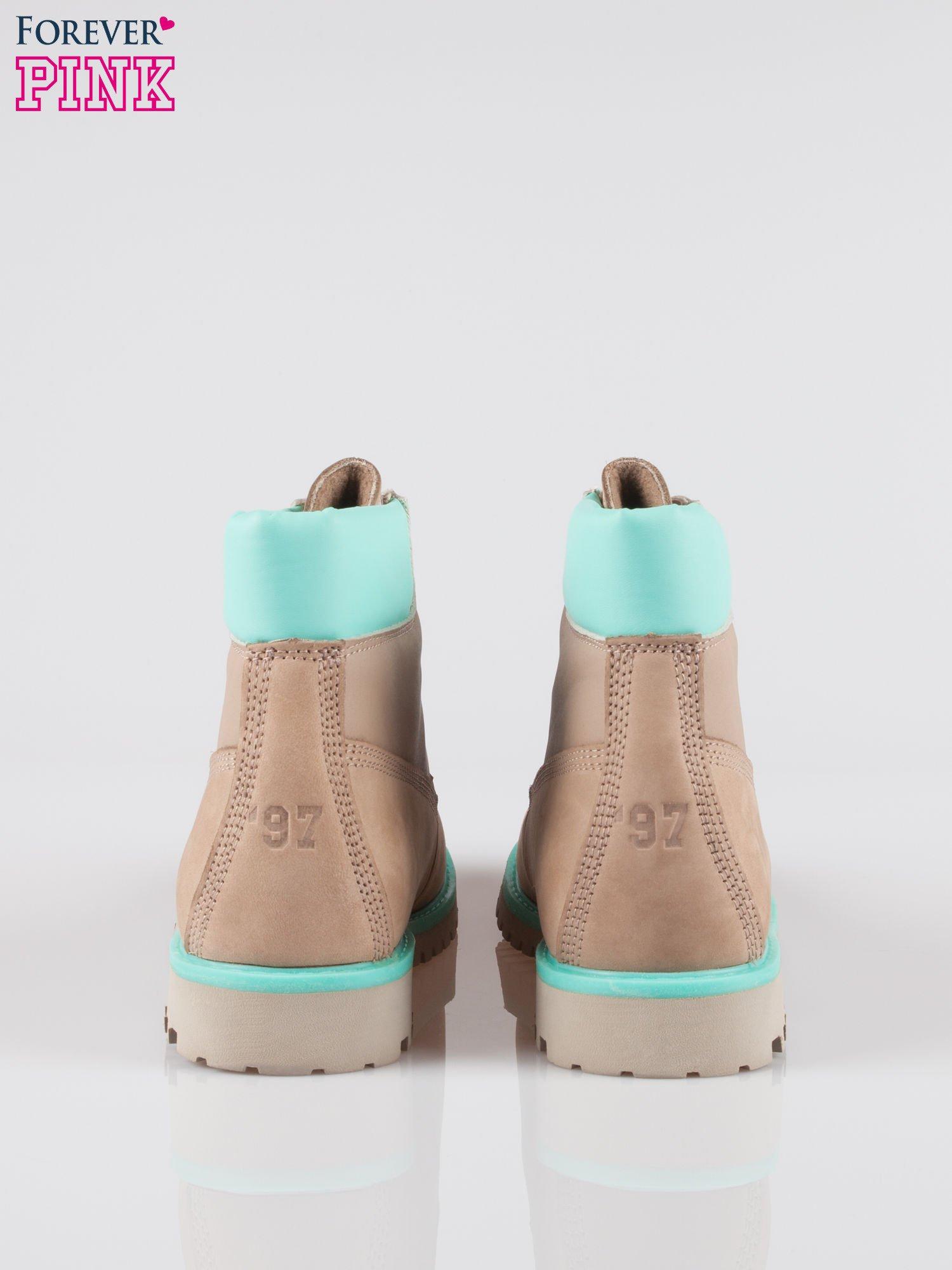 Szare buty trekkingowe traperki damskie ze skóry naturalnej                                  zdj.                                  3