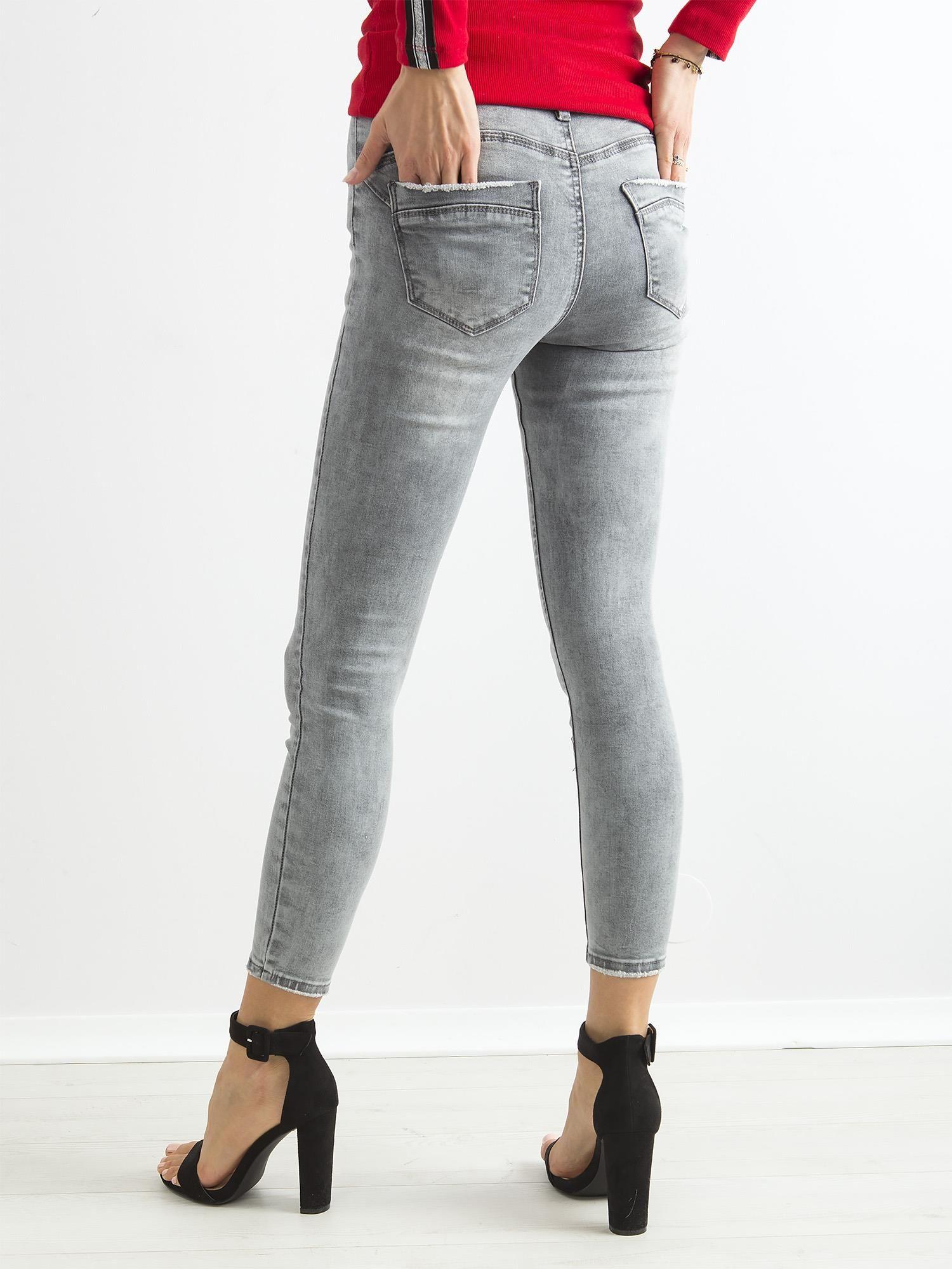 10211b8e Szare jeansowe rurki skinny z wysokim stanem