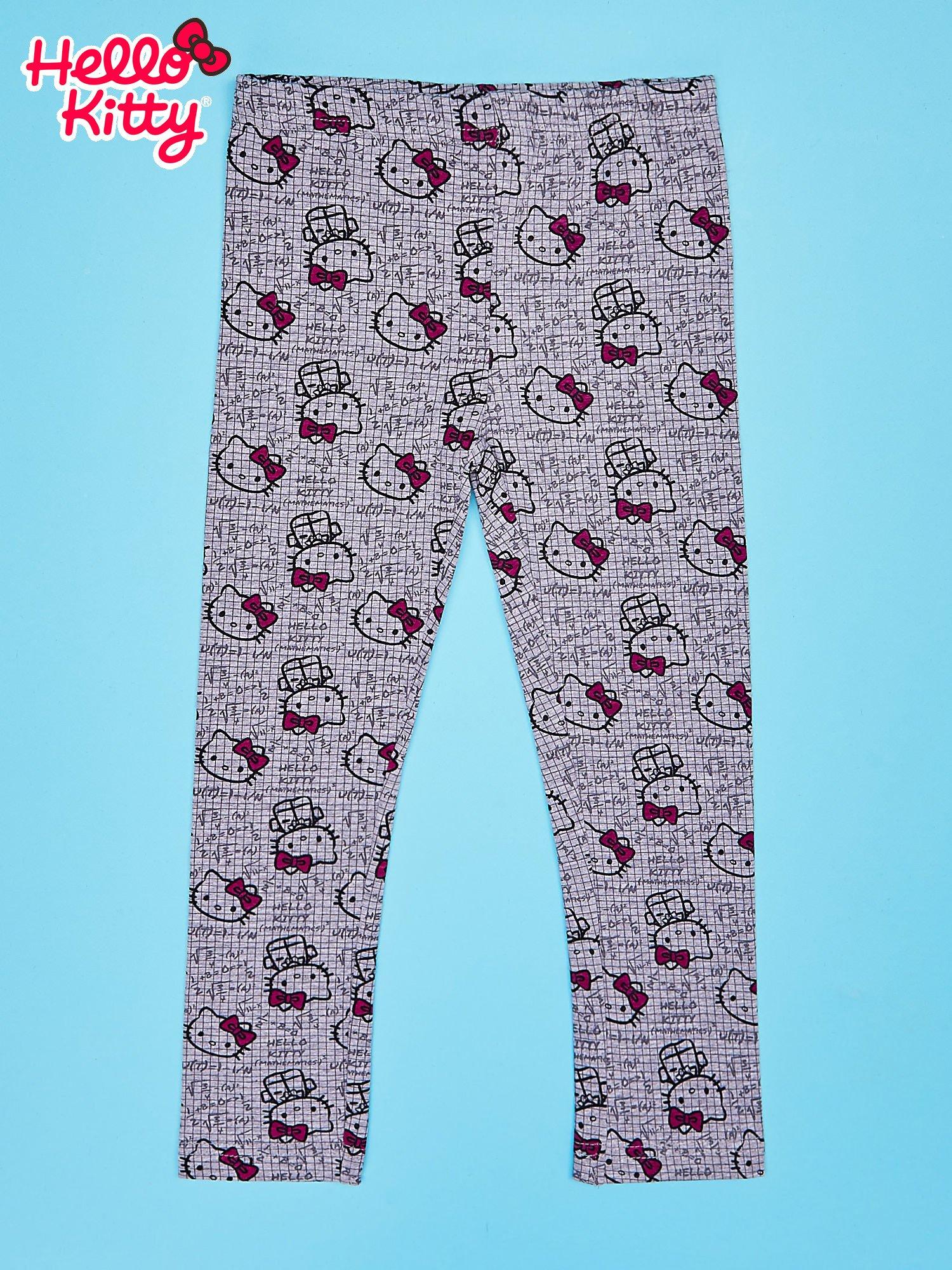 Szare legginsy dla dziewczynki z nadrukiem HELLO KITTY                                  zdj.                                  1