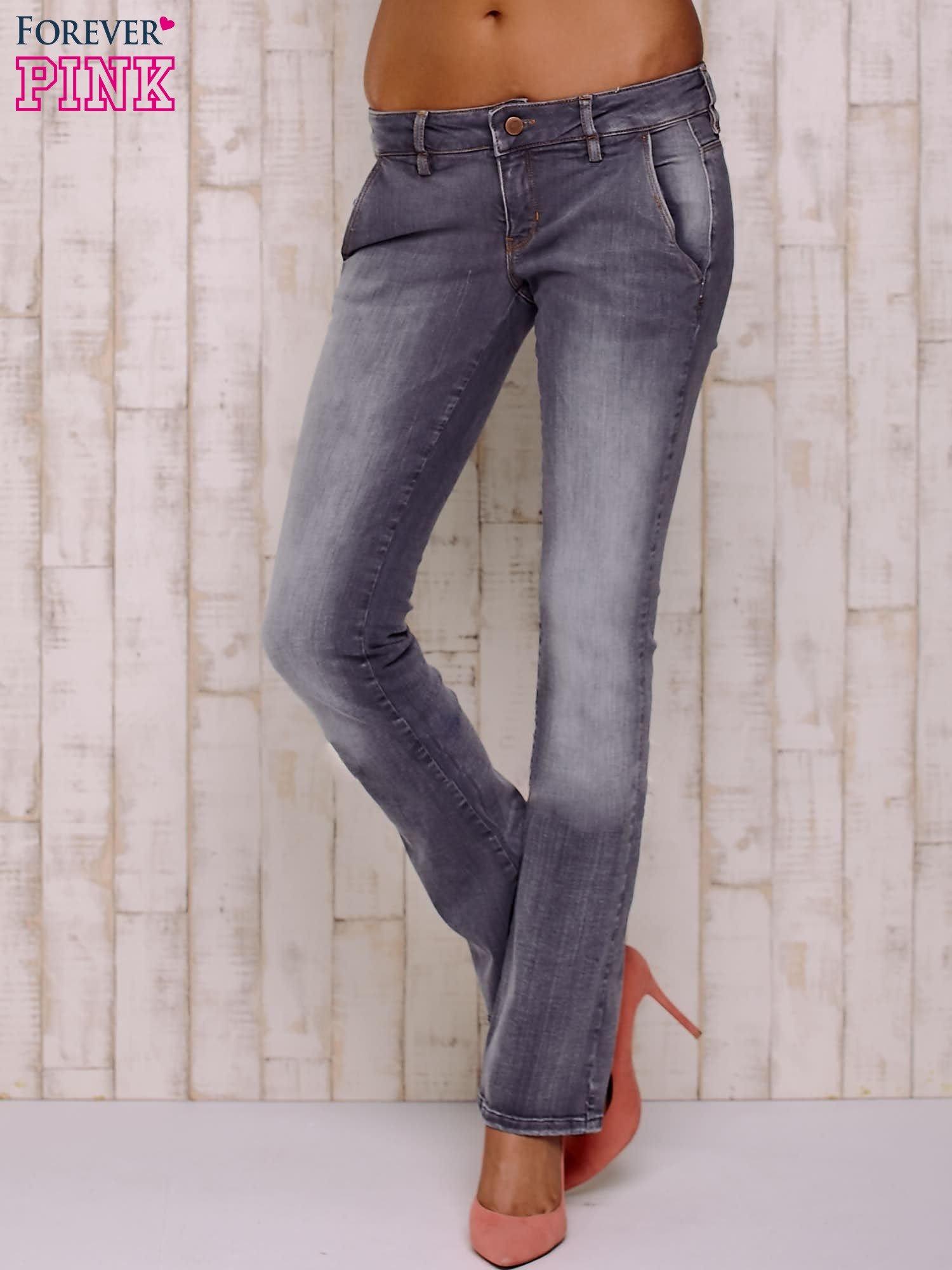 Szare przecierane spodnie ze stretchem                                  zdj.                                  1
