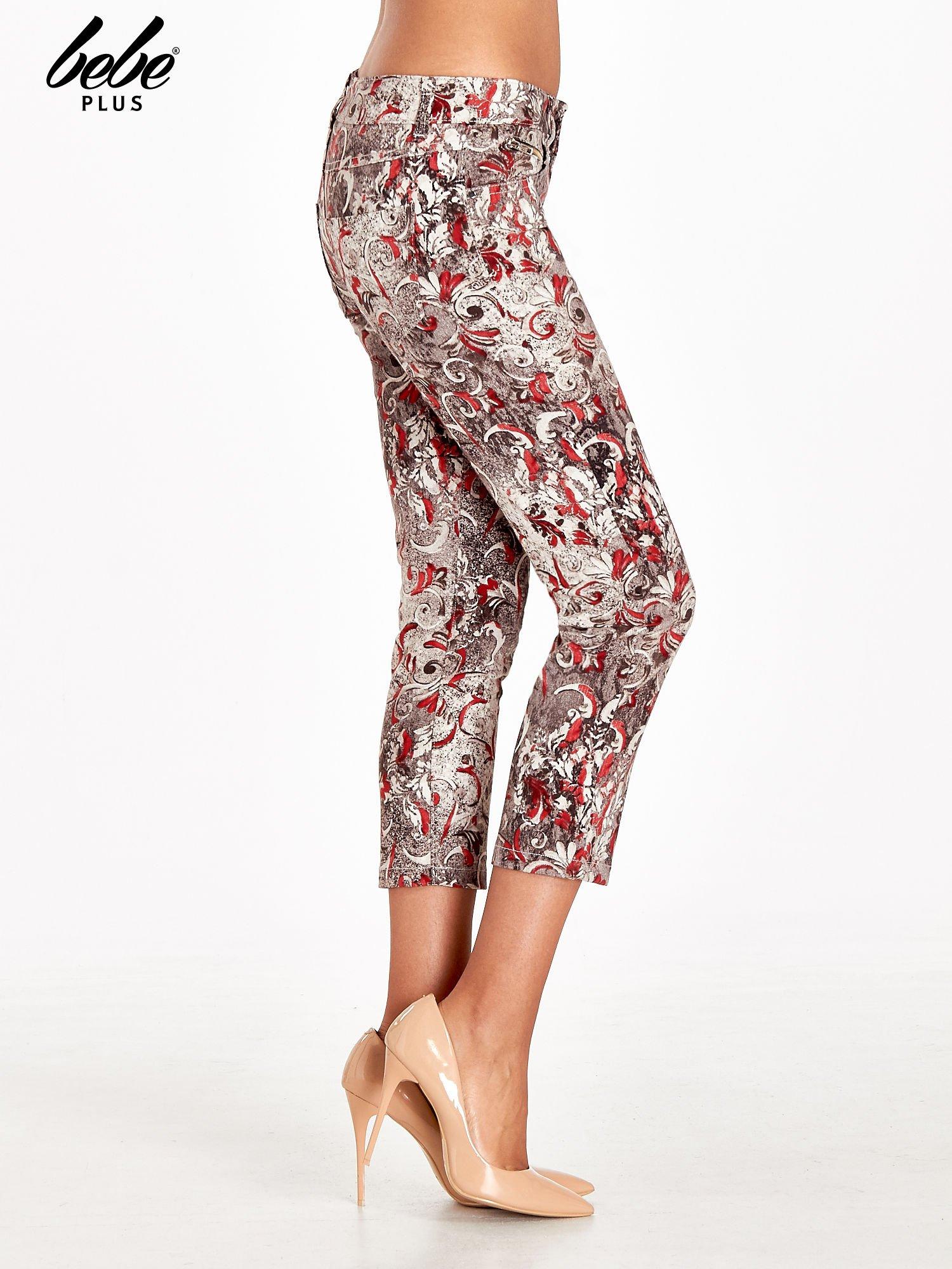 Szare spodnie skinny w kwiaty                                  zdj.                                  3