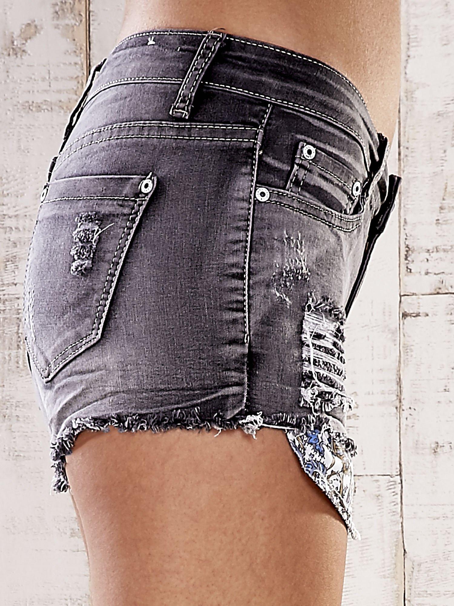 Szare szorty jeansowe z przetarciami                                  zdj.                                  6