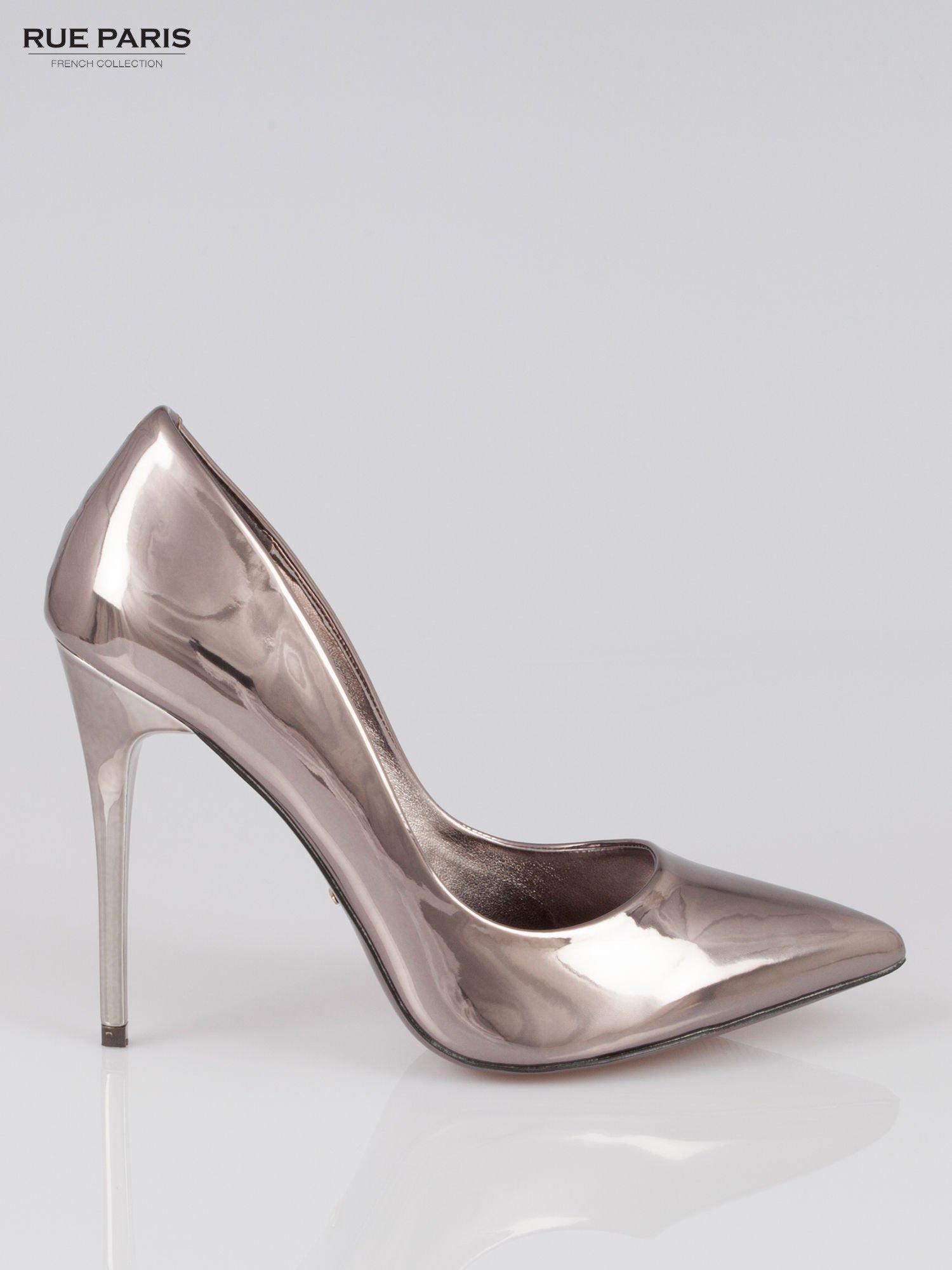 Szare szpilki metaliczne Mirror Heels                                  zdj.                                  1