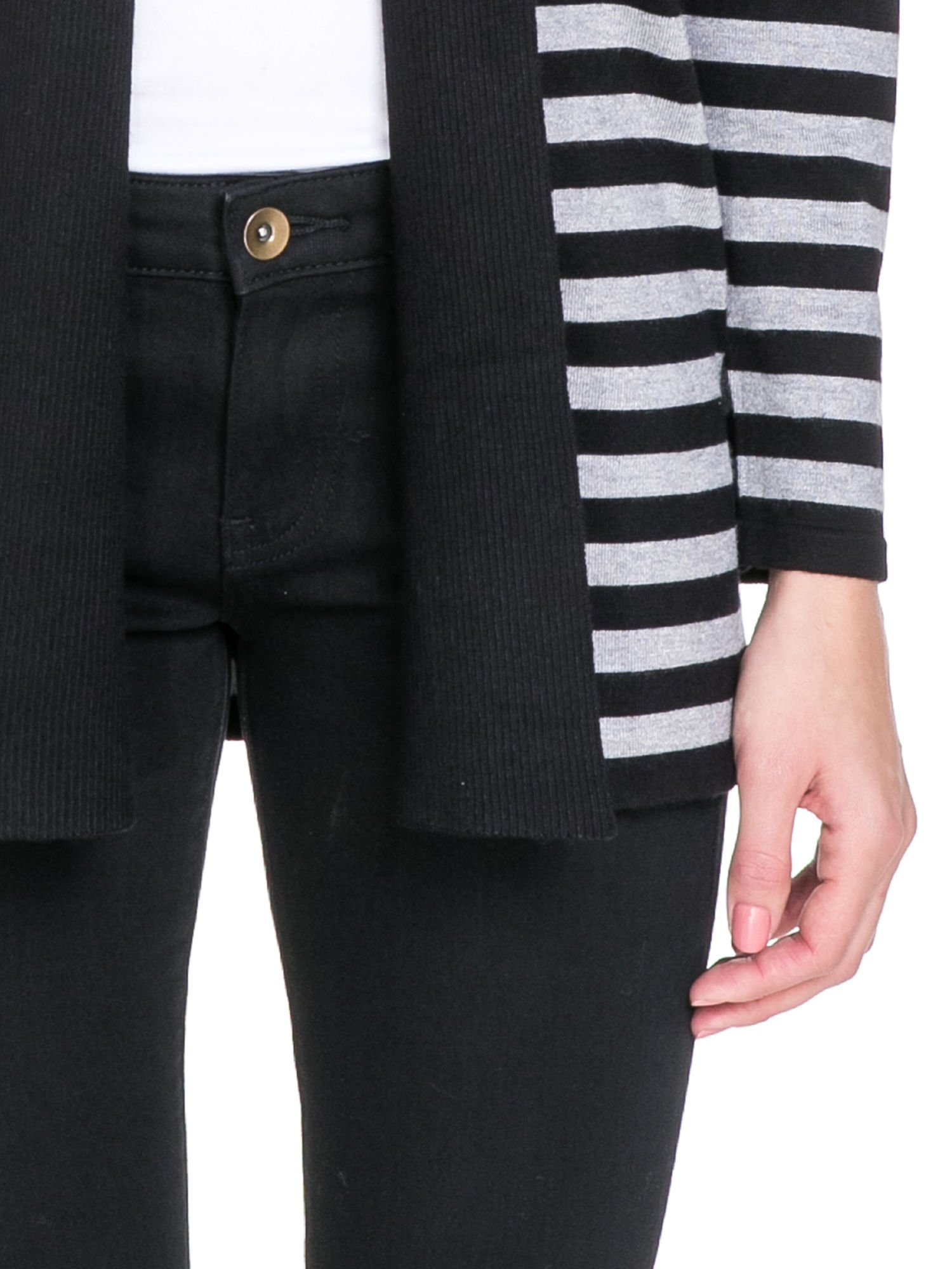 Szaro-czarny pasiasty otwarty sweter kardigan z prążkowanym kołnierzem                                  zdj.                                  6