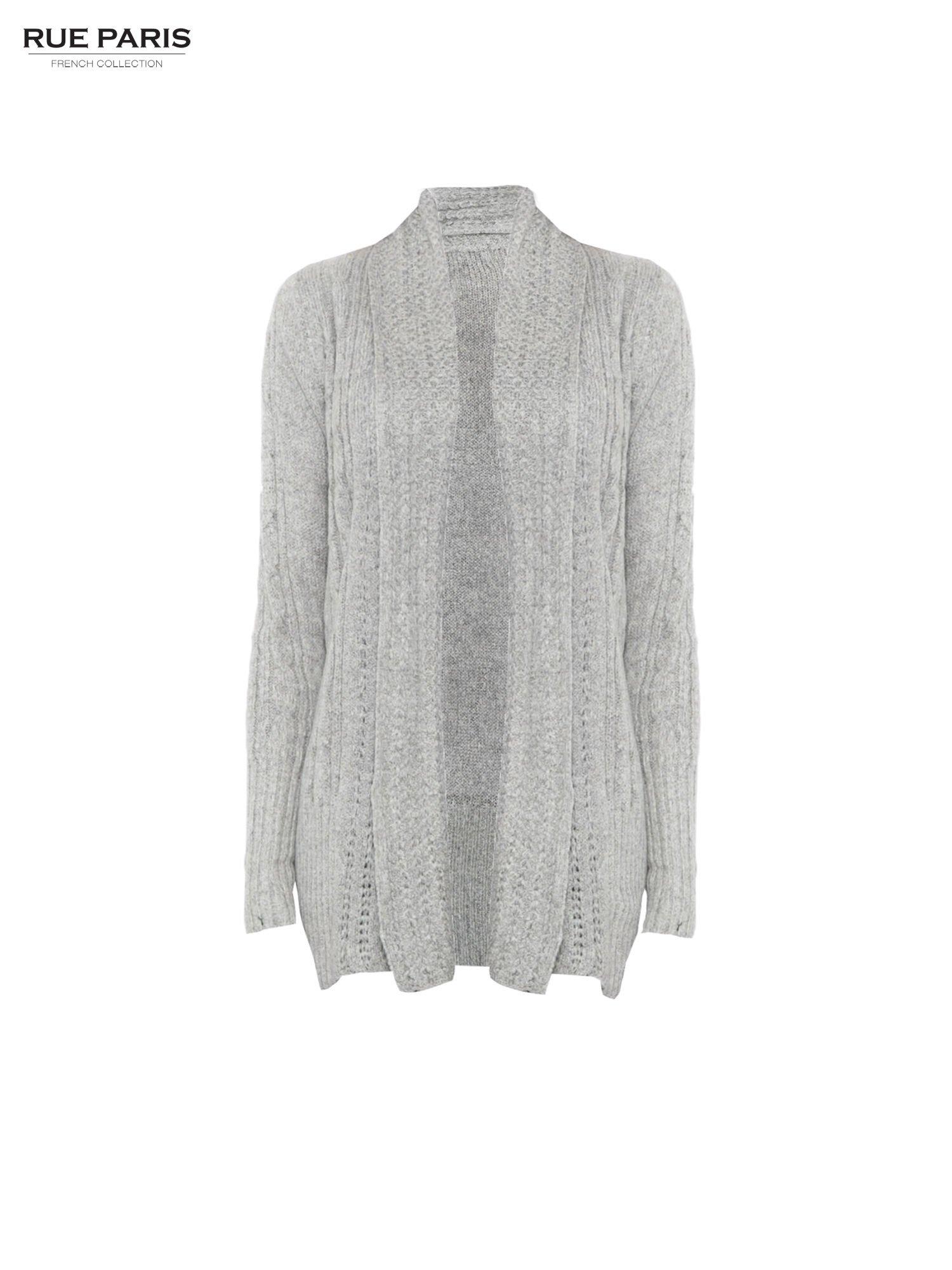 Szary ażurowy długi sweter typu kardigan                                  zdj.                                  5