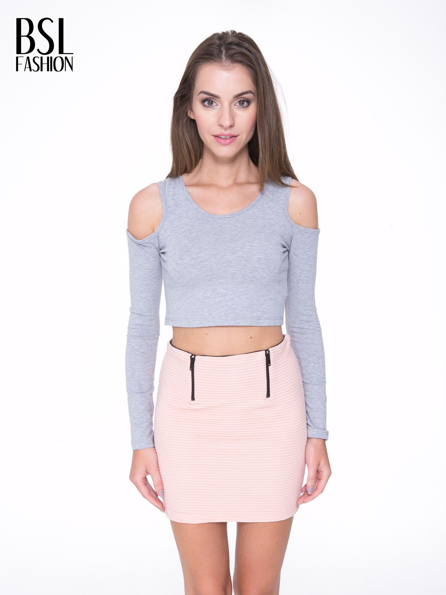 Szary crop top z rękawami cut out                                  zdj.                                  1