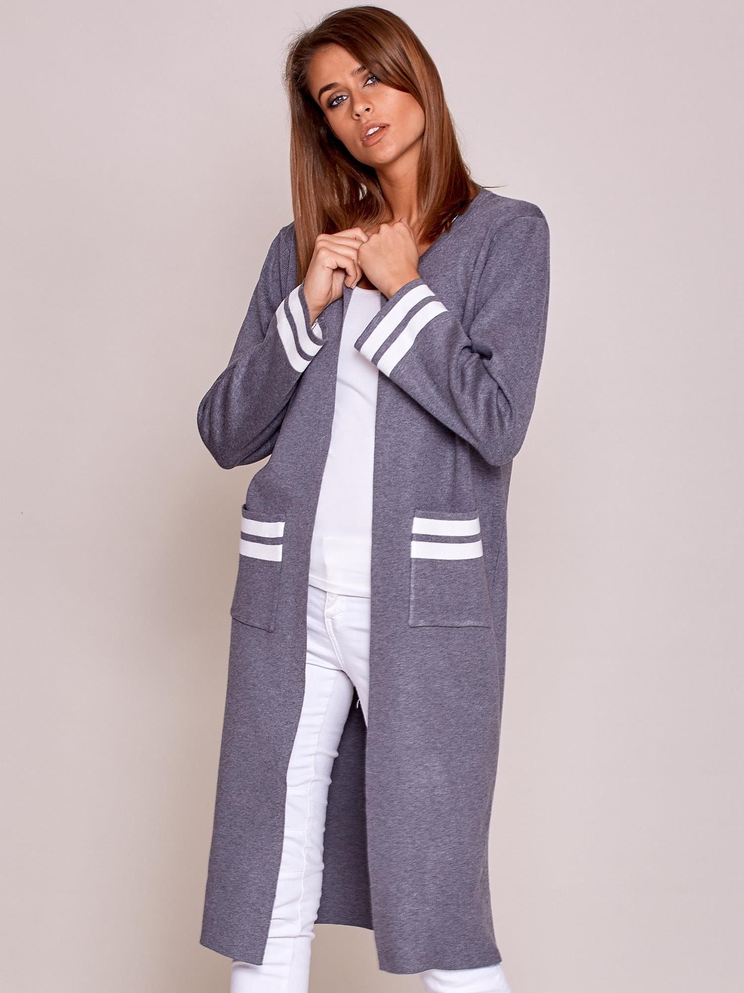 b1fd2e32 Szary długi sweter damski