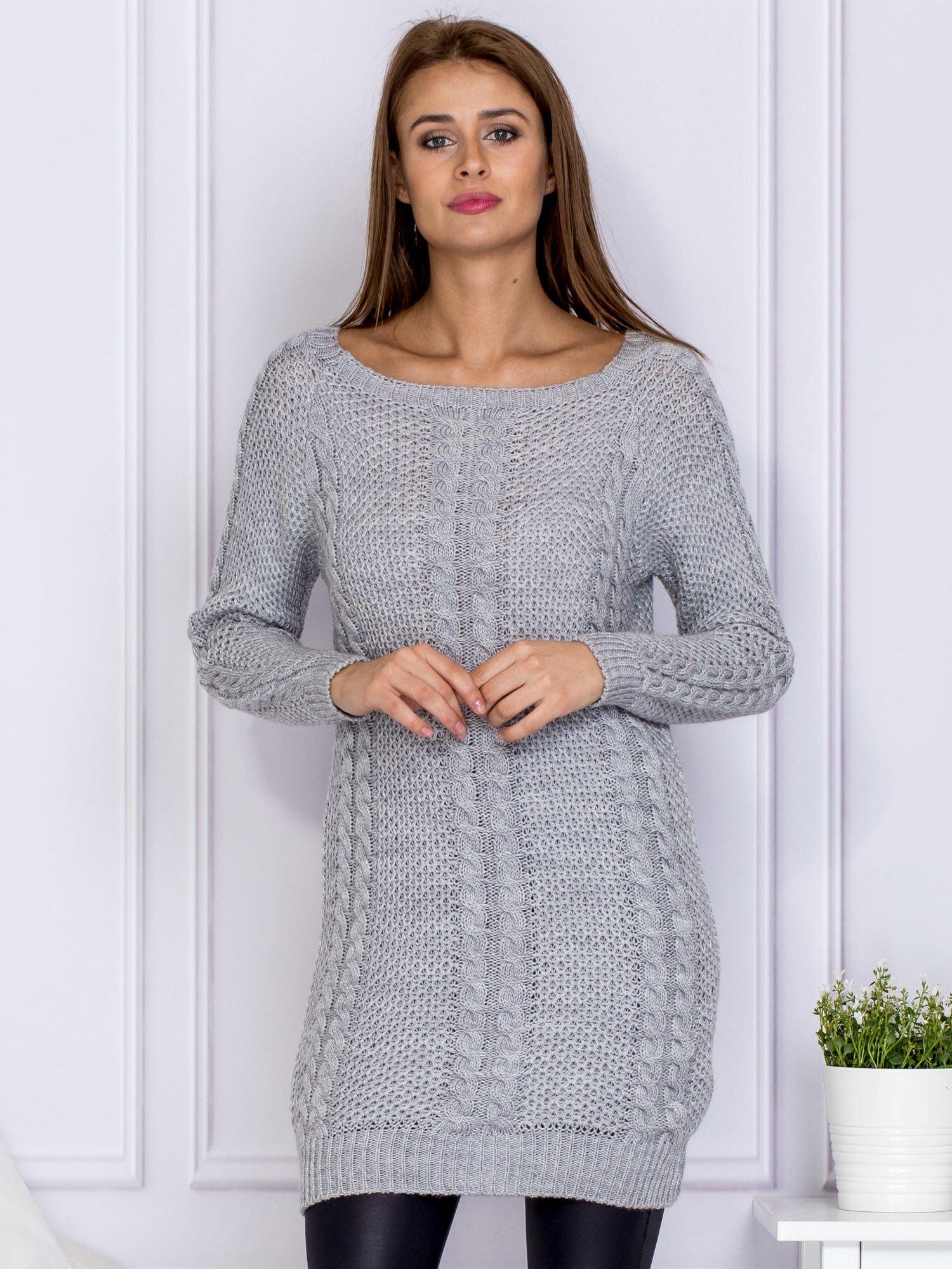 7ca2b438459c8 Szary dłuższy sweter z warkoczowym splotem - Sweter długi - sklep ...