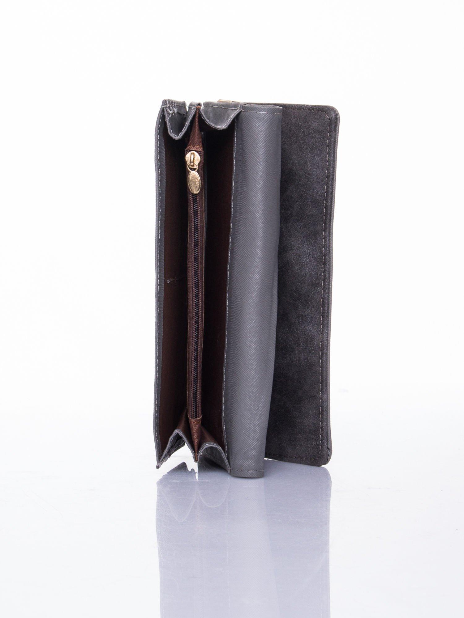Szary dziurkowany portfel ze złotym wykończeniem                                  zdj.                                  5