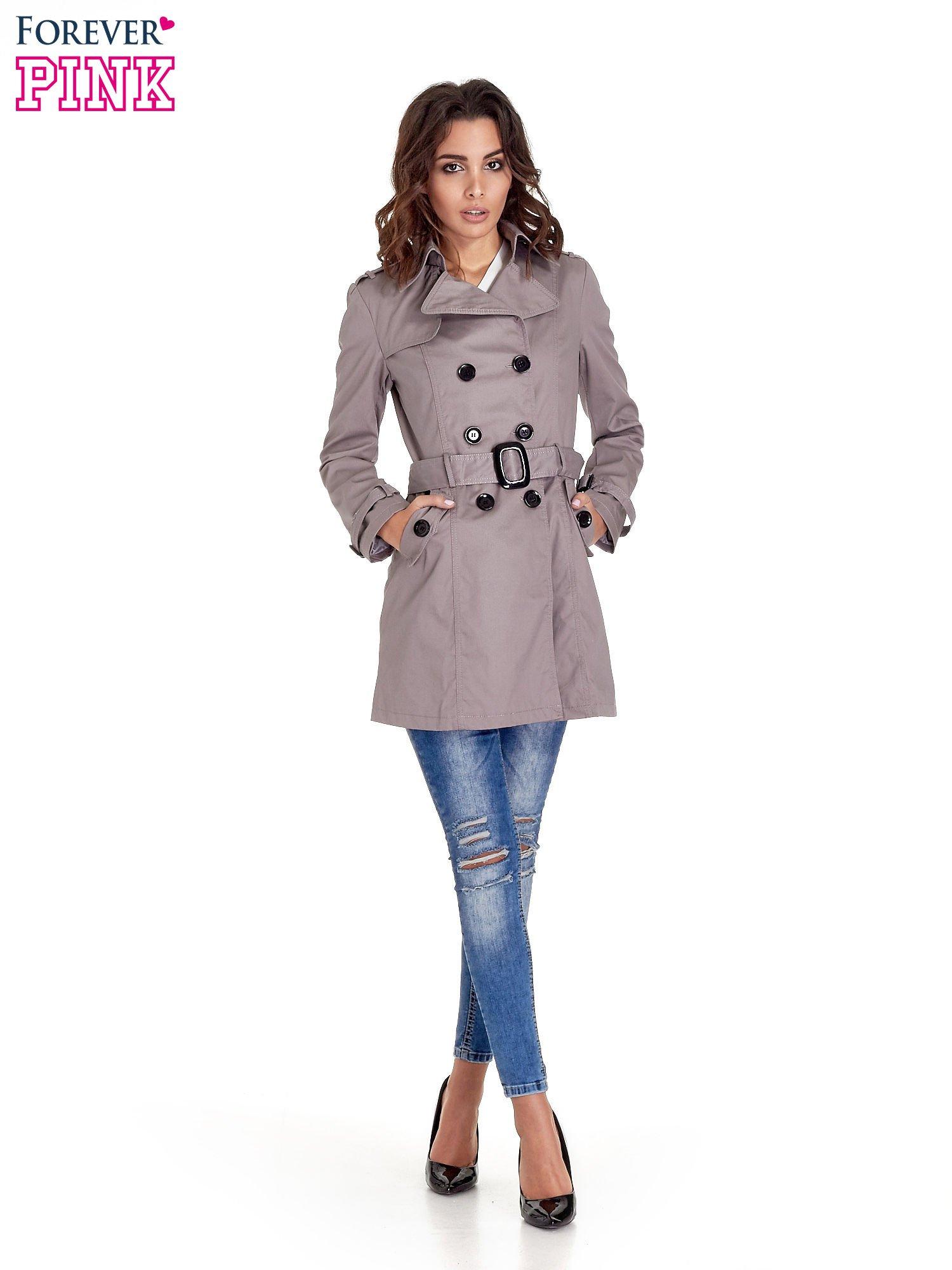 Szary klasyczny płaszcz typu trencz                                  zdj.                                  10