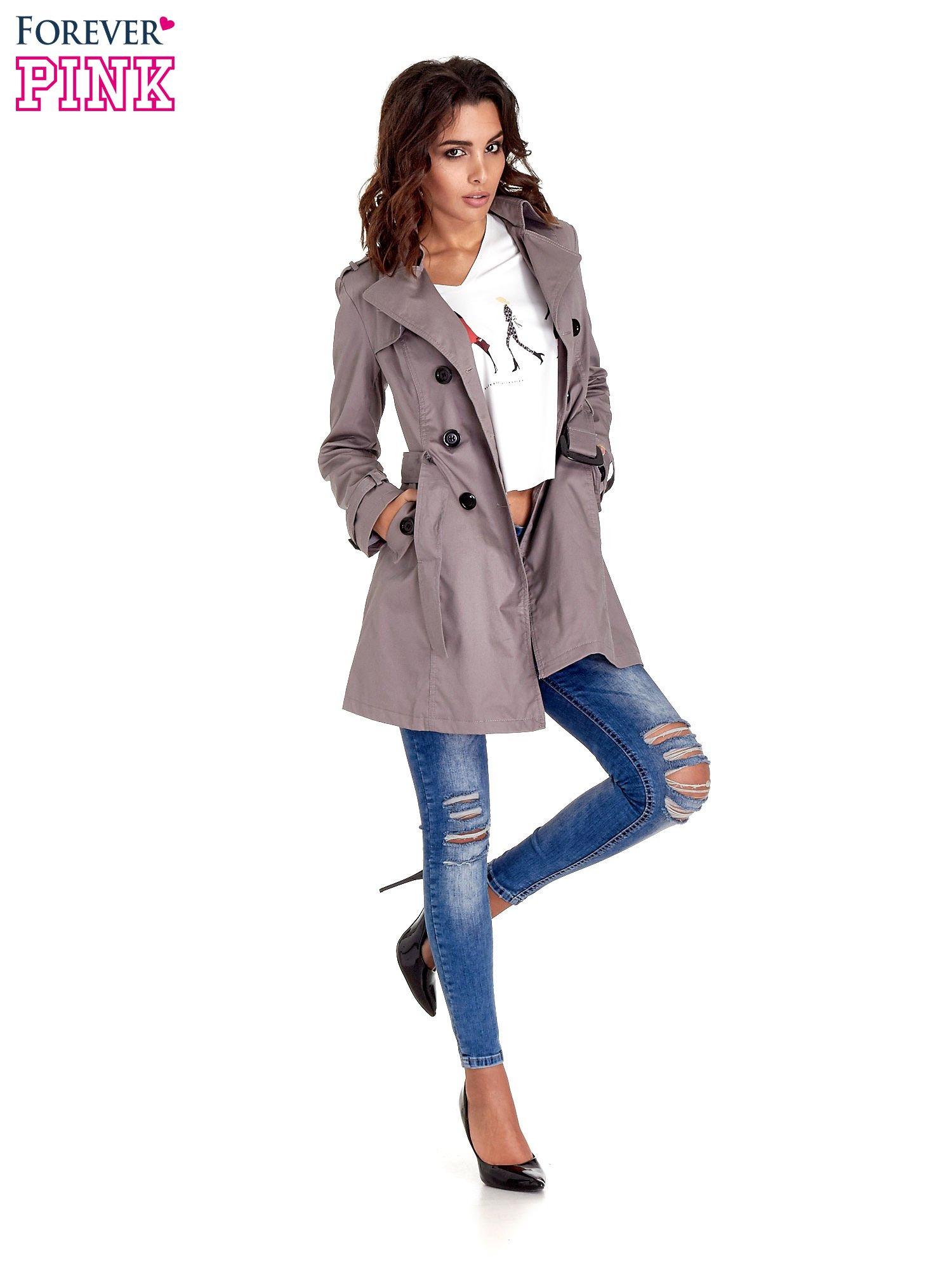 Szary klasyczny płaszcz typu trencz                                  zdj.                                  2