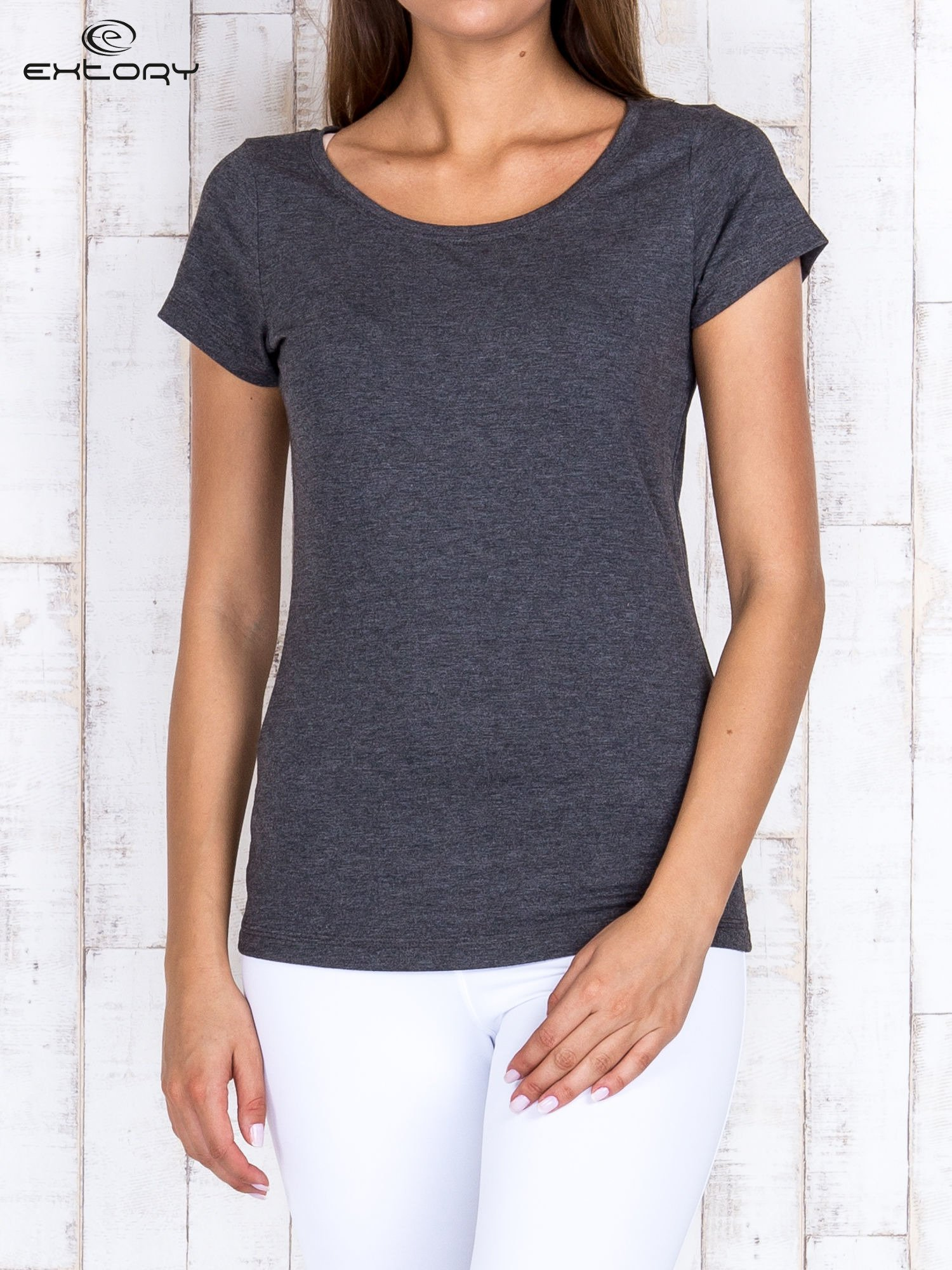 Szary melanżowy damski t-shirt sportowy basic PLUS SIZE                                  zdj.                                  1