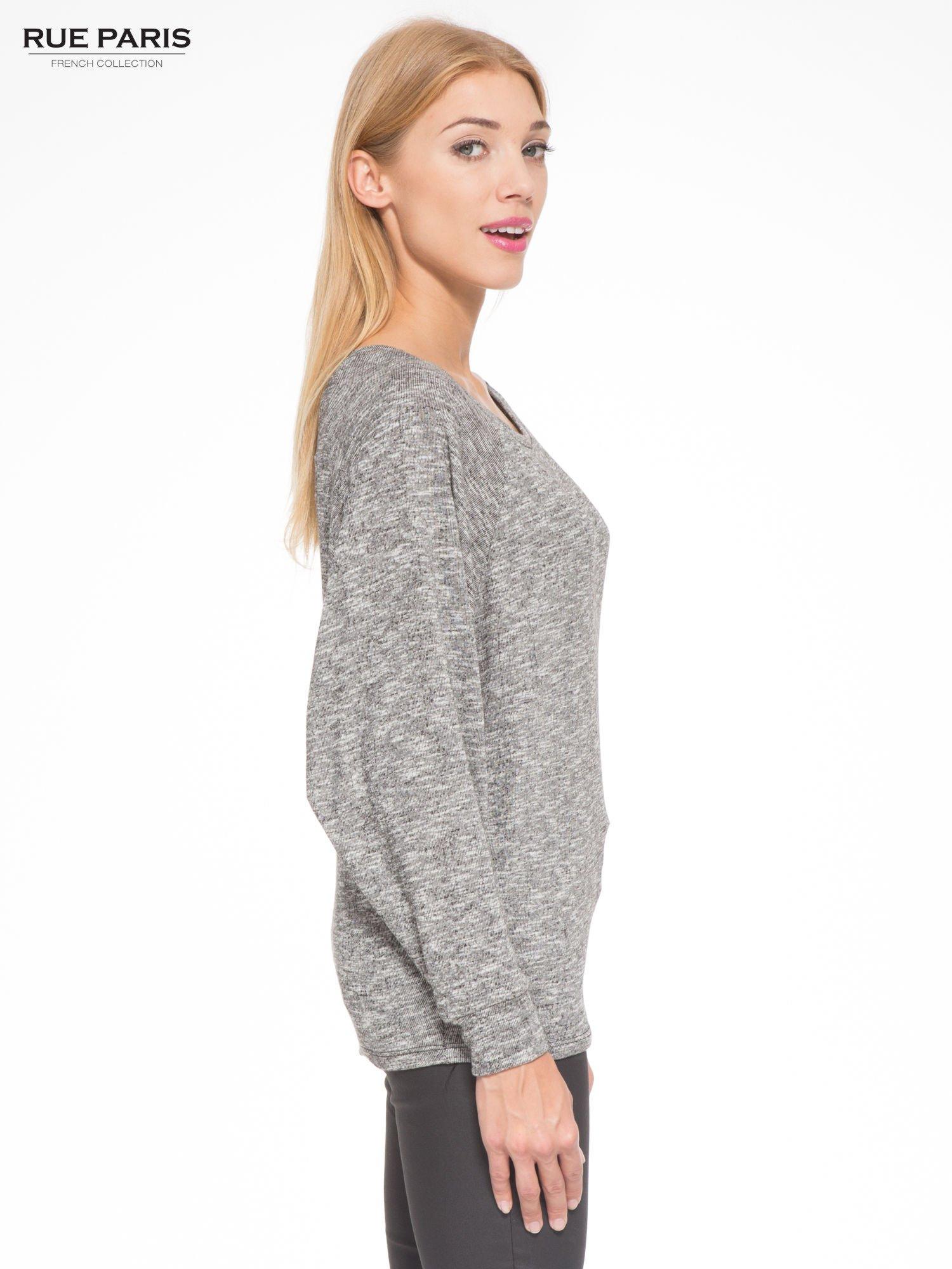 Szary melanżowy sweter z nietoperzowymi rękawami                                  zdj.                                  3