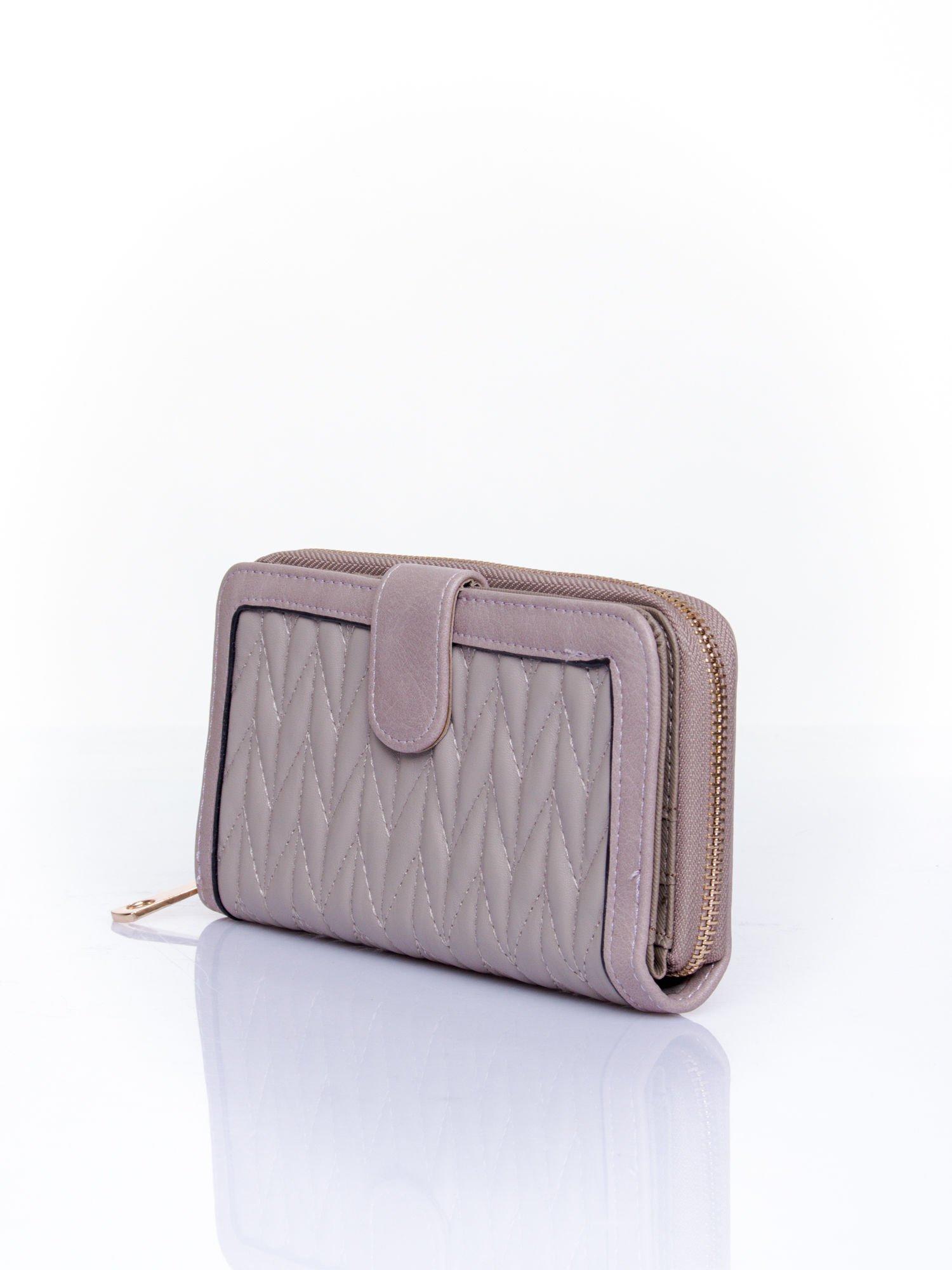 Szary pikowany portfel ze złotym suwakiem                                  zdj.                                  3