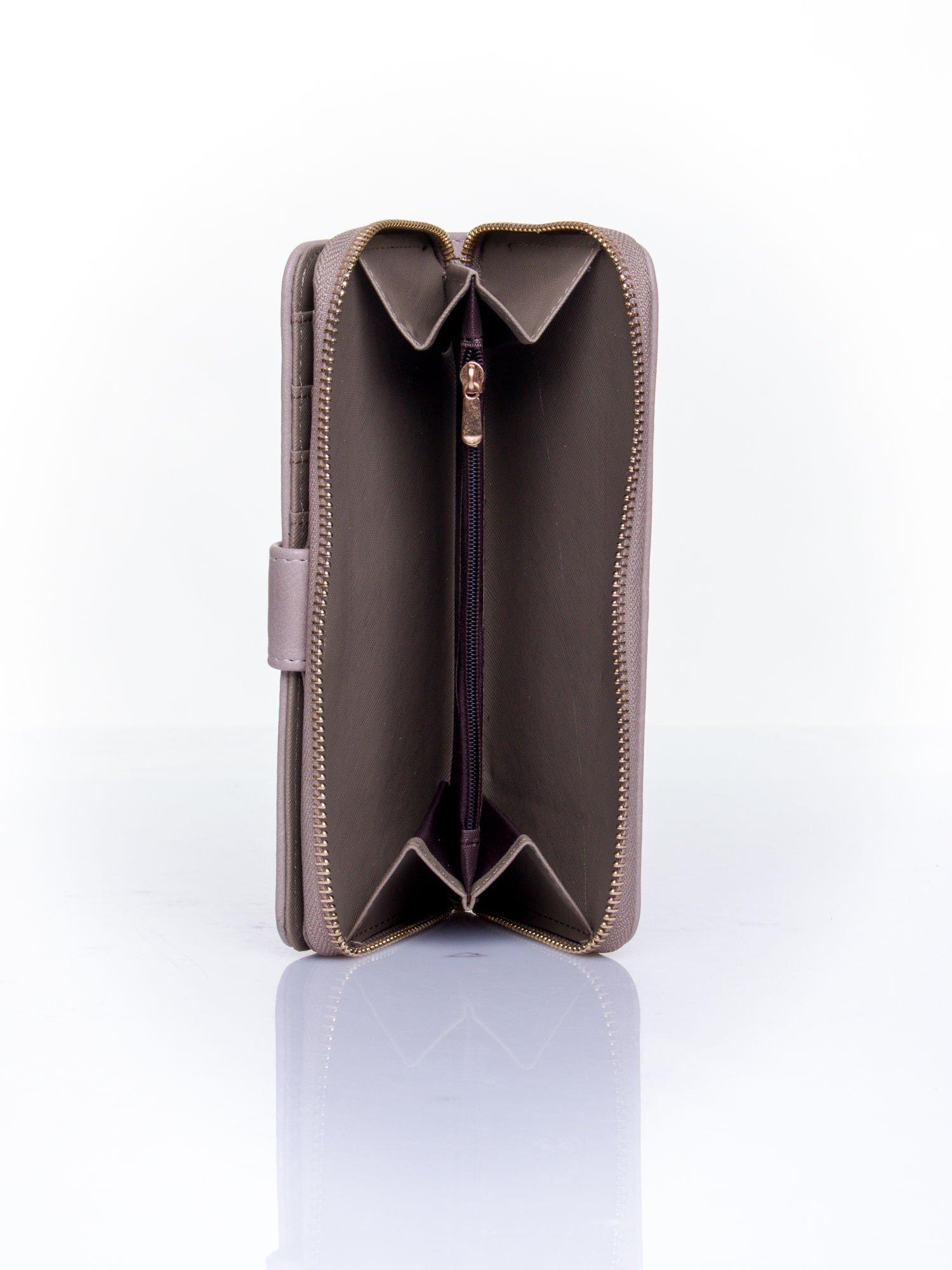 Szary pikowany portfel ze złotym suwakiem                                  zdj.                                  5