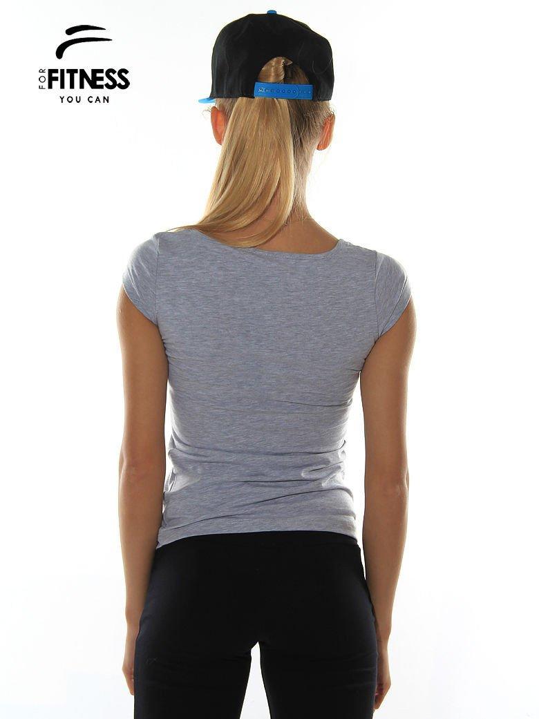Szary prosty t-shirt sportowy                                  zdj.                                  3