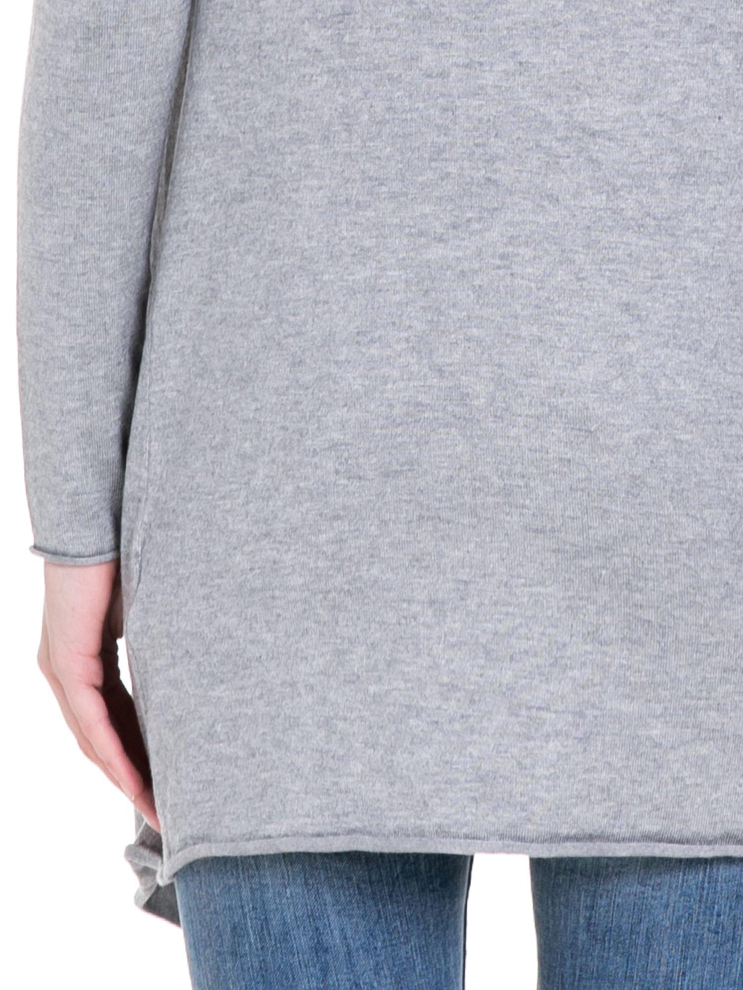 Szary sweter narzutka o kroju waterfall                                  zdj.                                  8