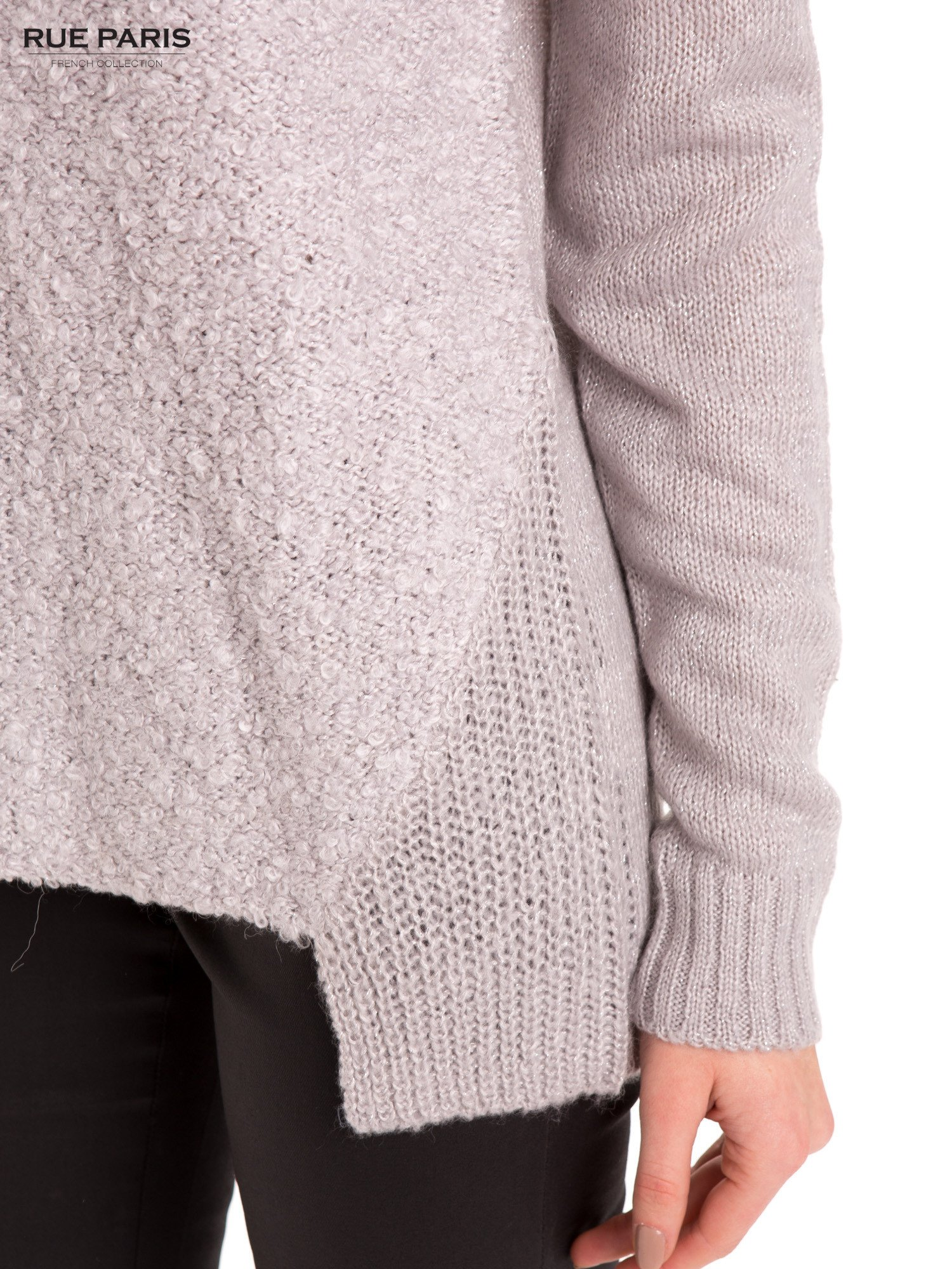 Szary sweter z dłuższym tyłem                                  zdj.                                  6