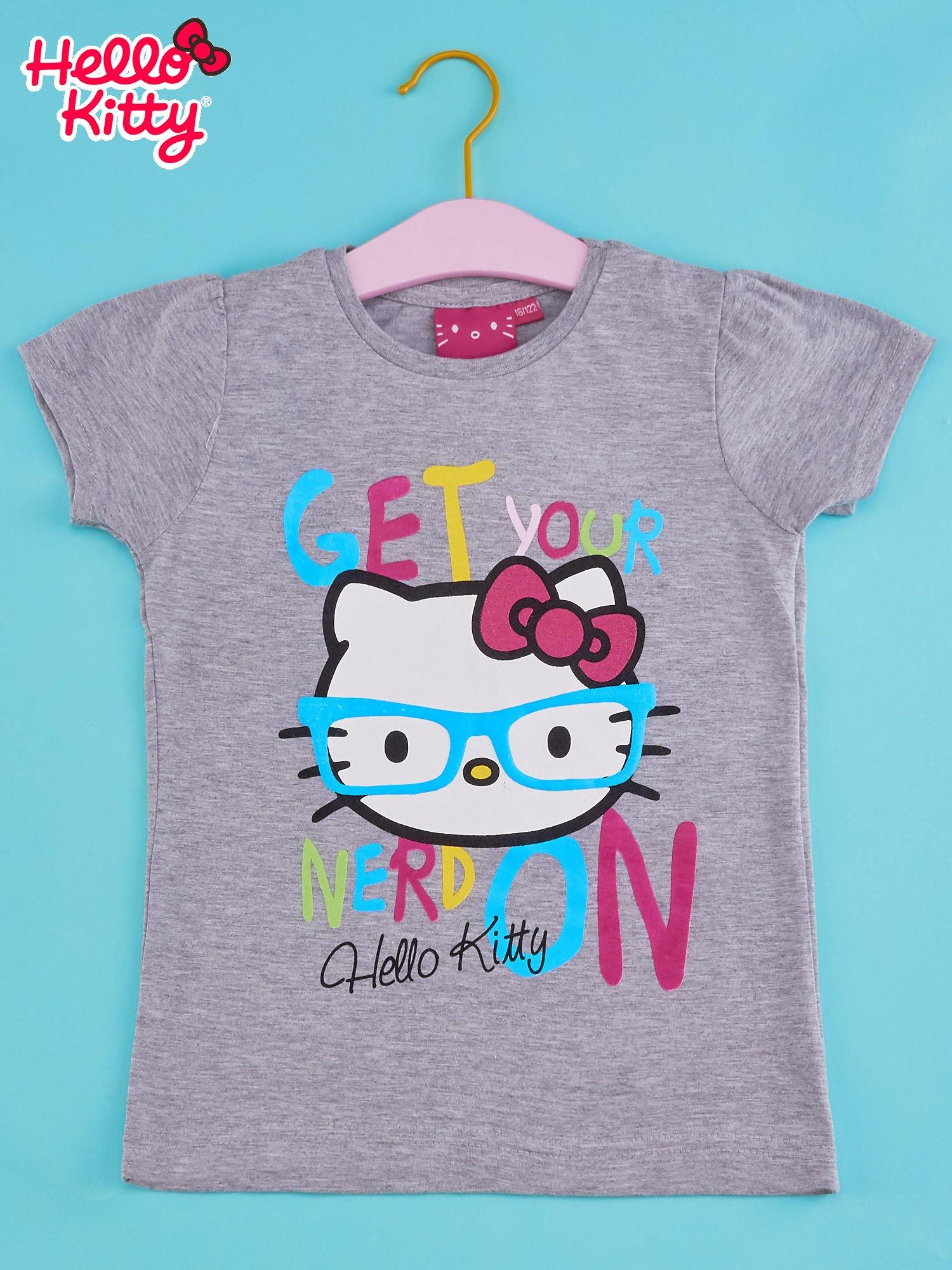 Szary t-shirt dla dziewczynki HELLO KITTY z napisem GET YOUR NERD ON                                  zdj.                                  1