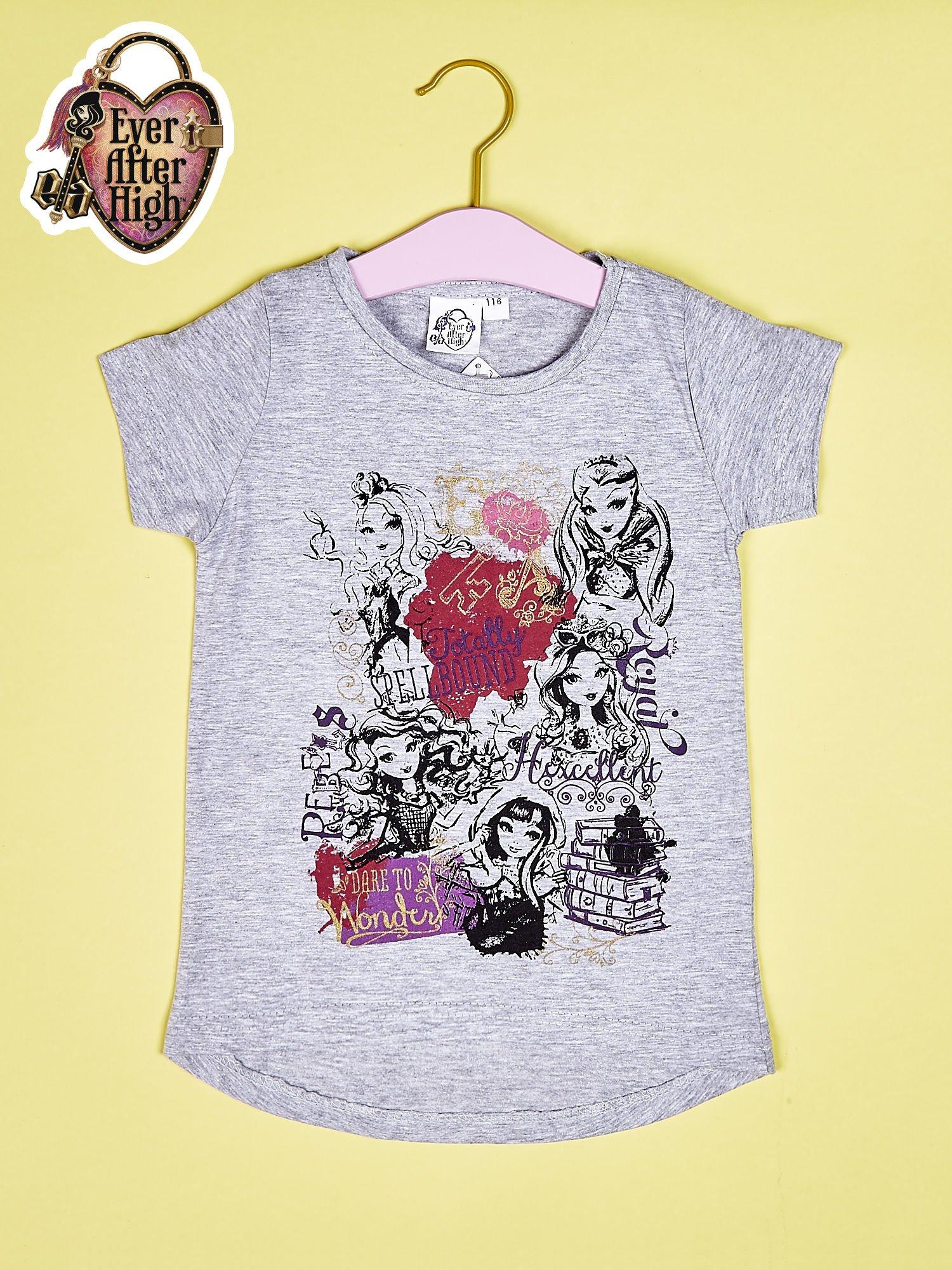 Szary t-shirt dla dziewczynki z nadrukiem EVER AFTER HIGH                                  zdj.                                  1