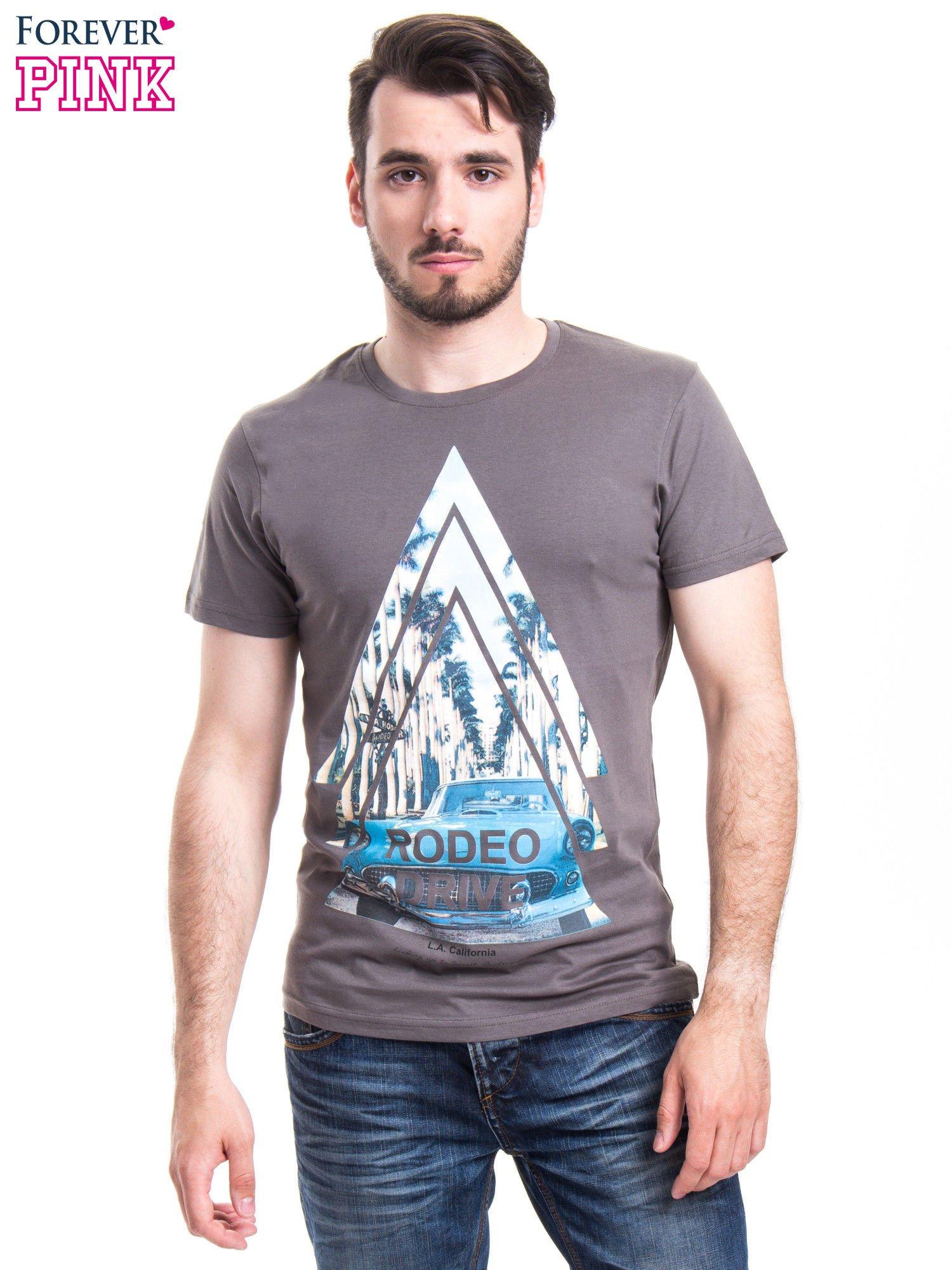 Szary t-shirt męski z nadrukiem RODEO DRIVE                                  zdj.                                  1