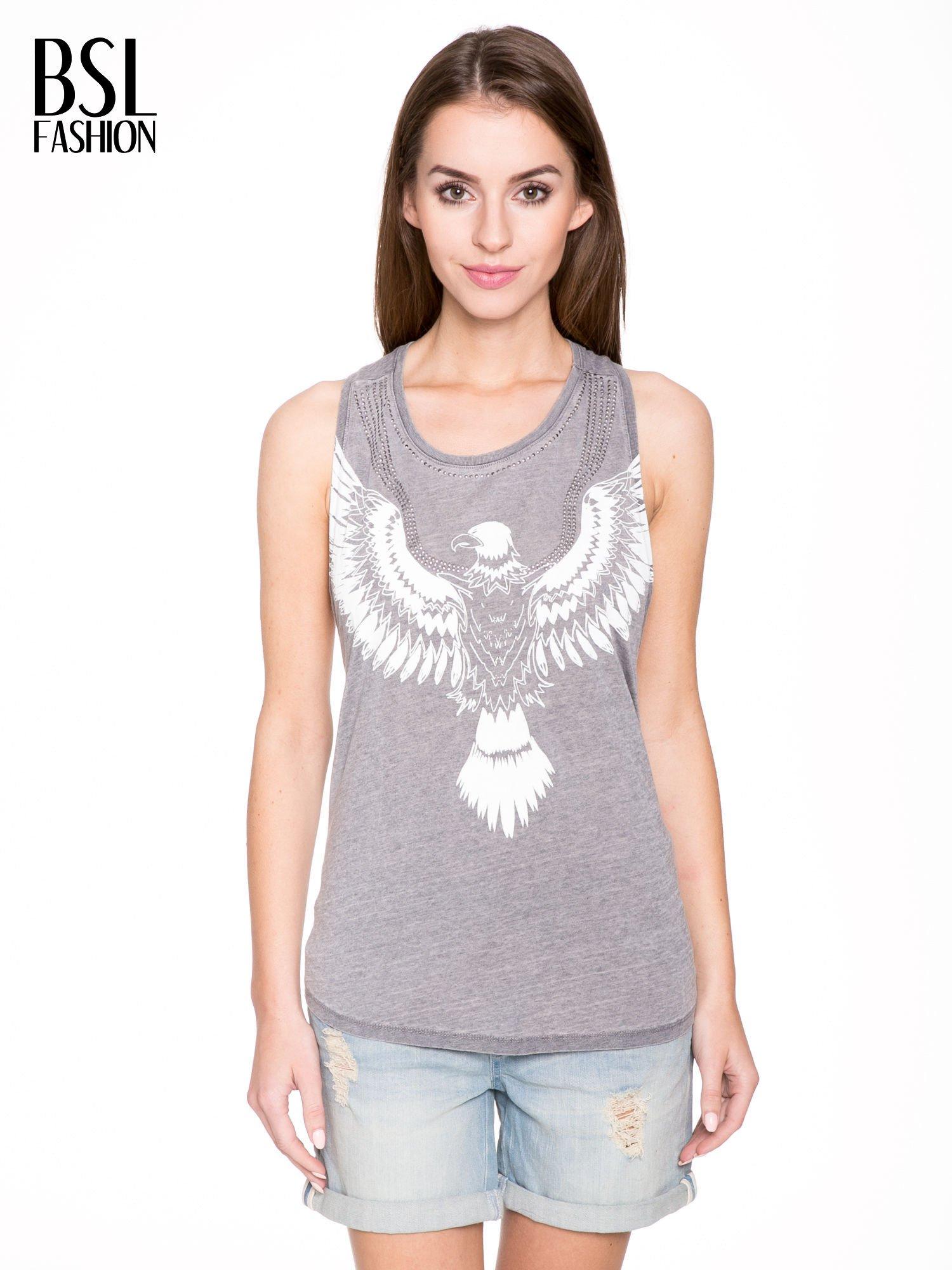 Szary t-shirt typu bokserka z nadrukiem orła i dżetami                                  zdj.                                  1