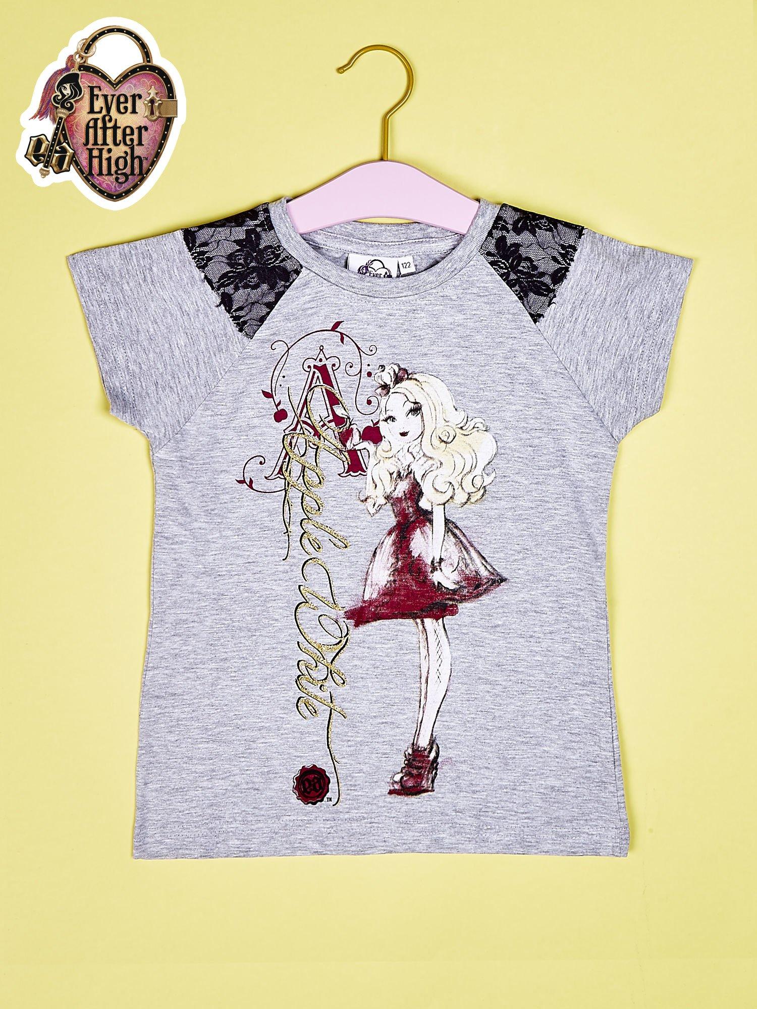 Szary t-shirt z koronką dla dziewczynki EVER AFTER HIGH                                  zdj.                                  1