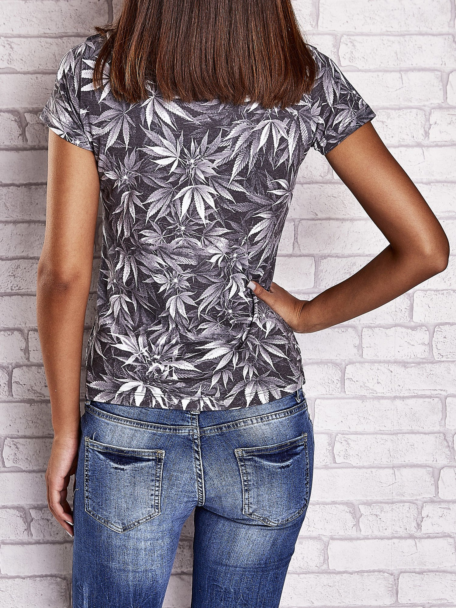 Szary t-shirt z motywem liści ganja weed                                  zdj.                                  4