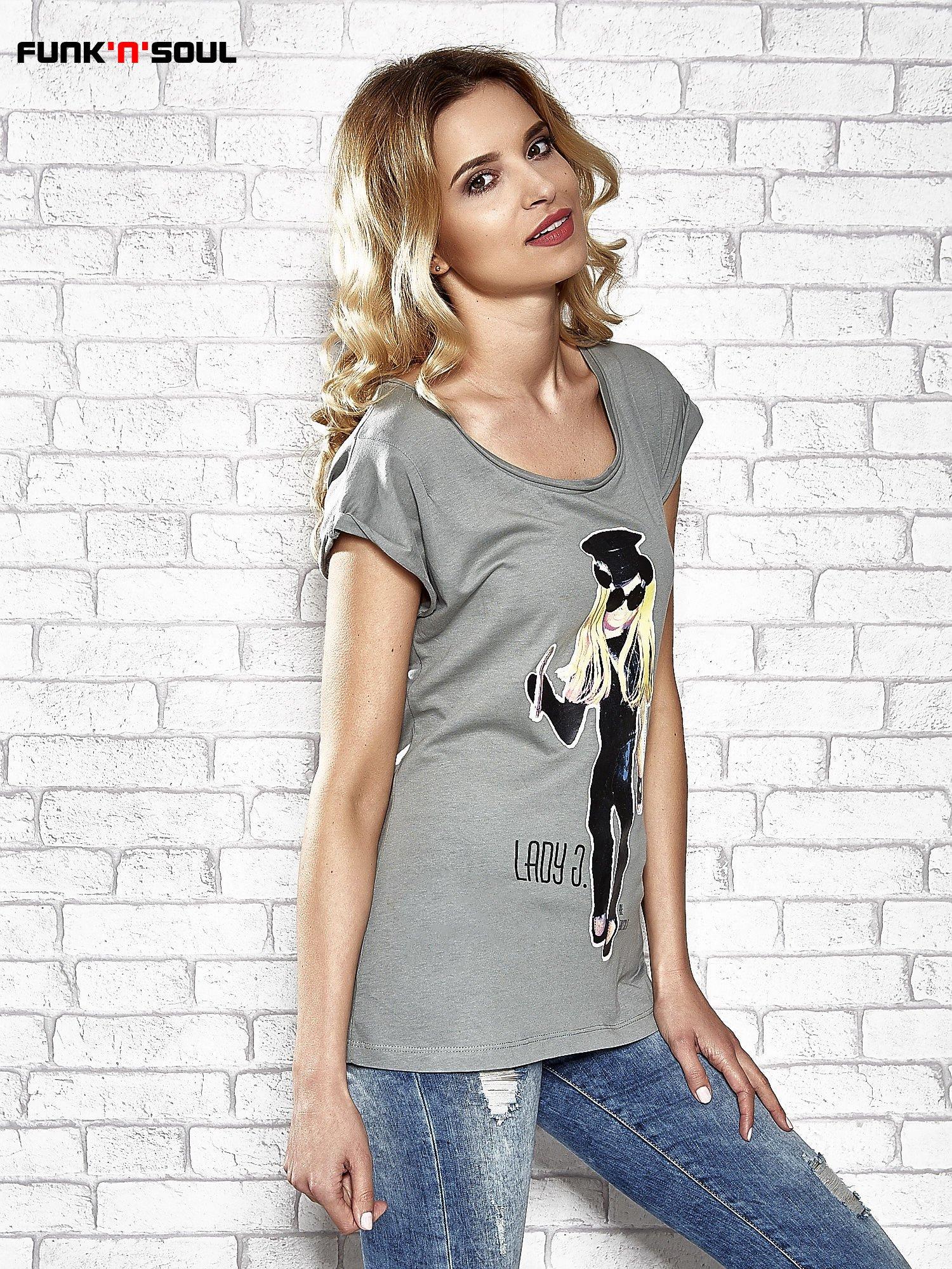 Szary t-shirt z nadrukiem Lady Gaga Funk n Soul                                  zdj.                                  3