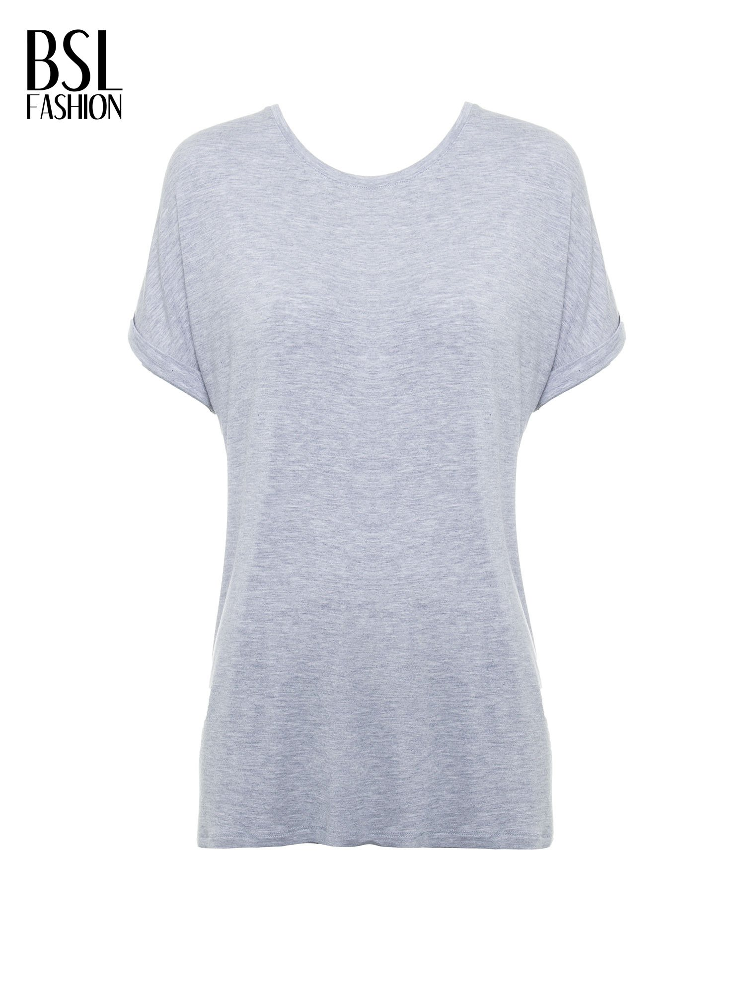 Szary t-shirt z nadrukiem ROCK na plecach                                  zdj.                                  2