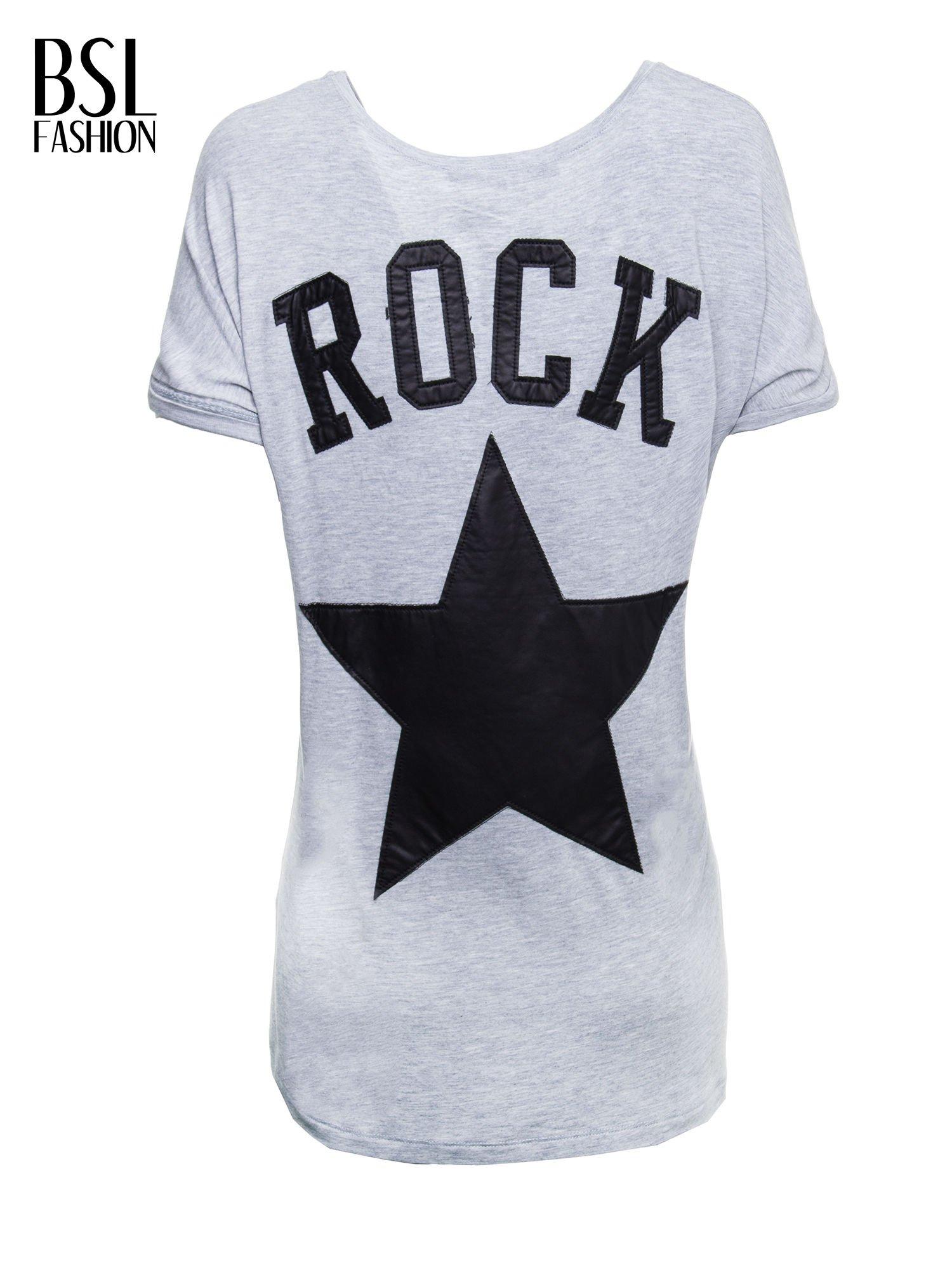 Szary t-shirt z nadrukiem ROCK na plecach                                  zdj.                                  3