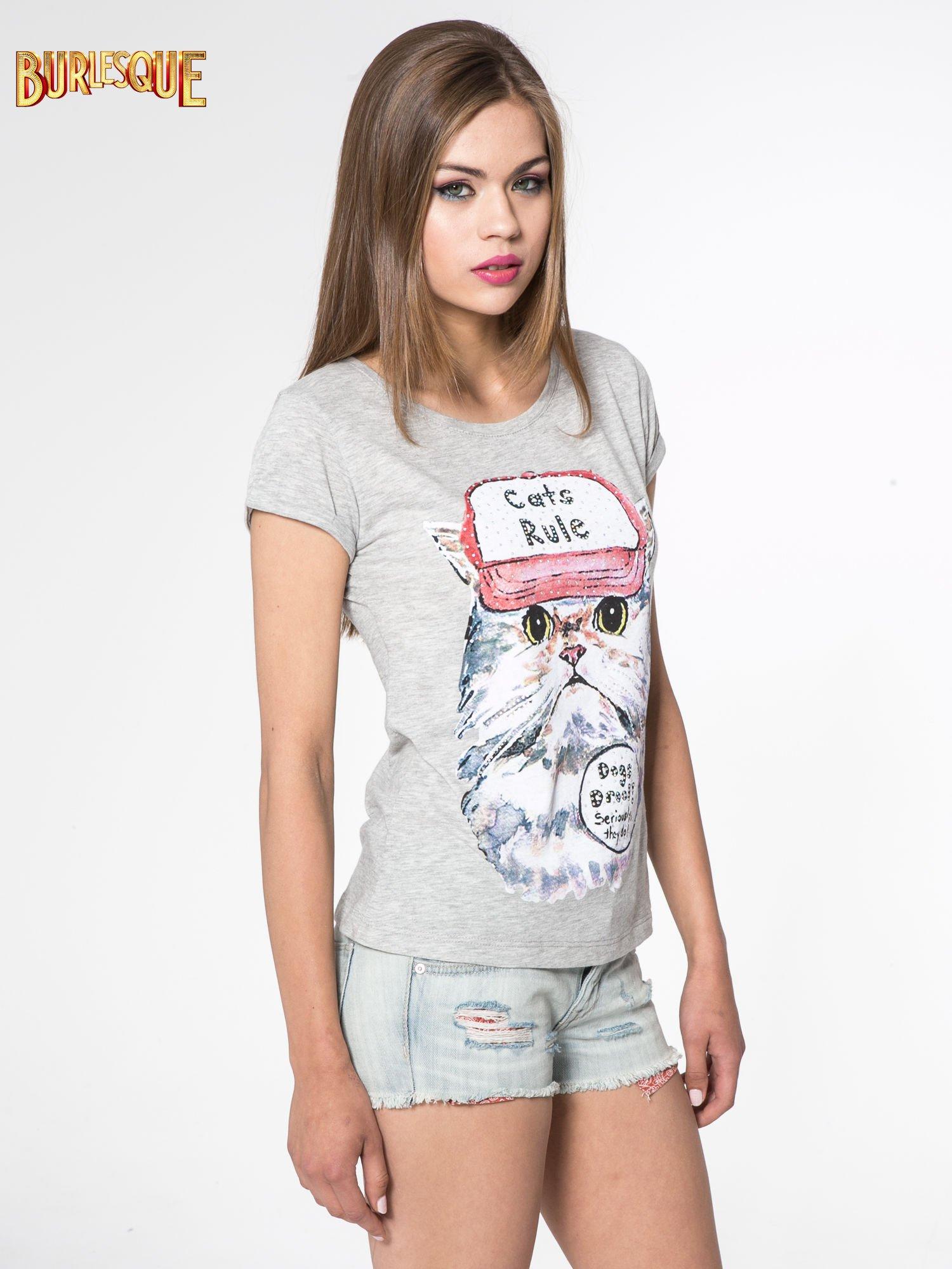 Szary t-shirt z nadrukiem kota i napisem CATS RULE                                  zdj.                                  3